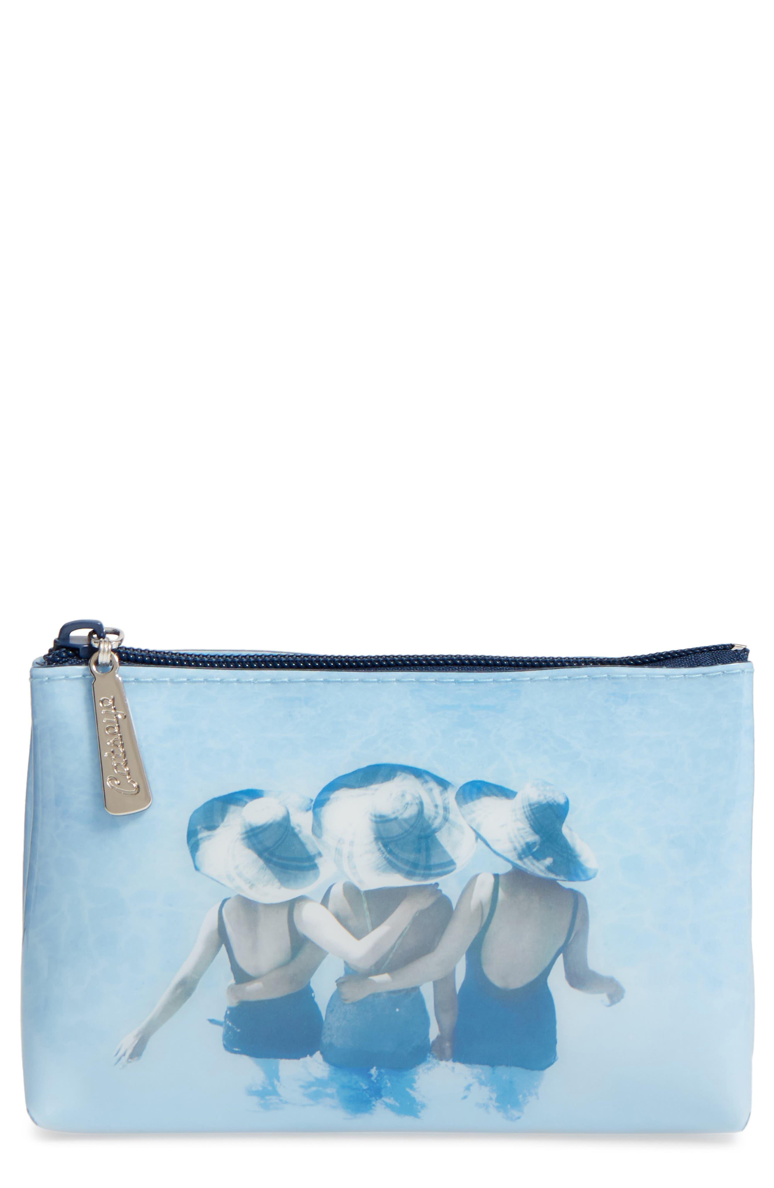 Beach Hats Zip Pouch,                         Main,                         color, Blue