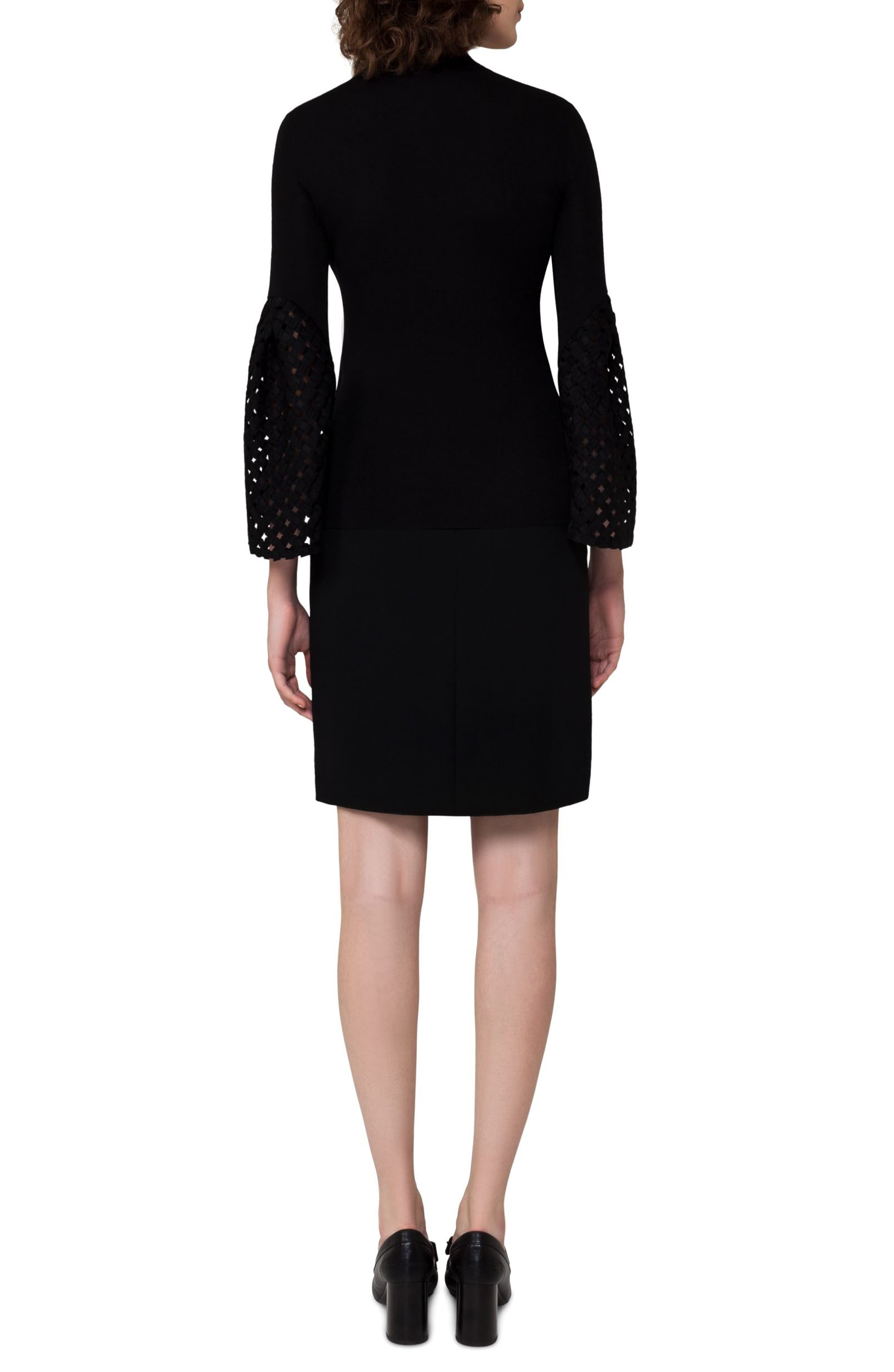Lace Sleeve Cashmere & Silk Sweater,                             Alternate thumbnail 2, color,                             Black