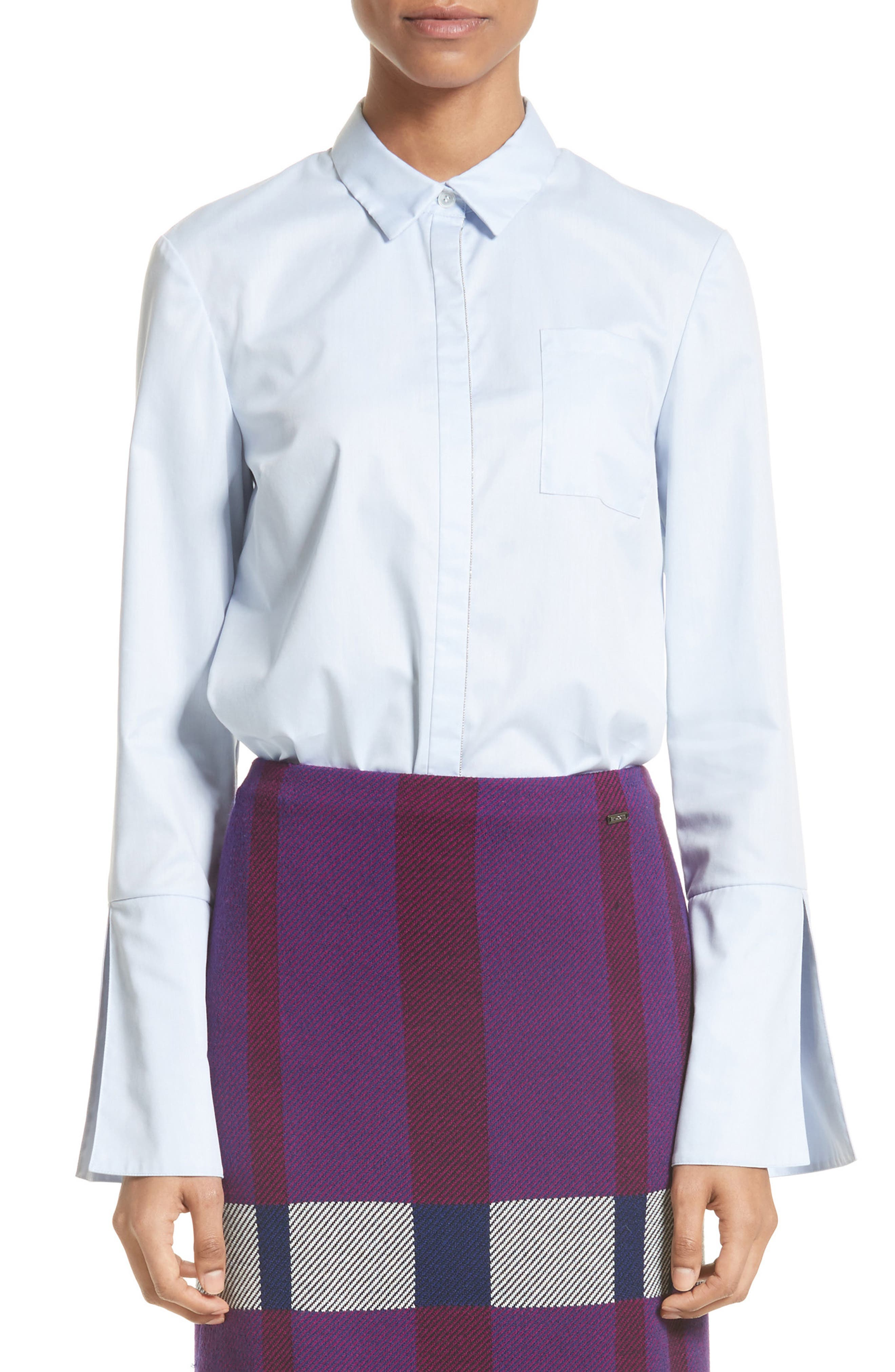St. John Collection Bell Sleeve High/Low Oxford Shirt