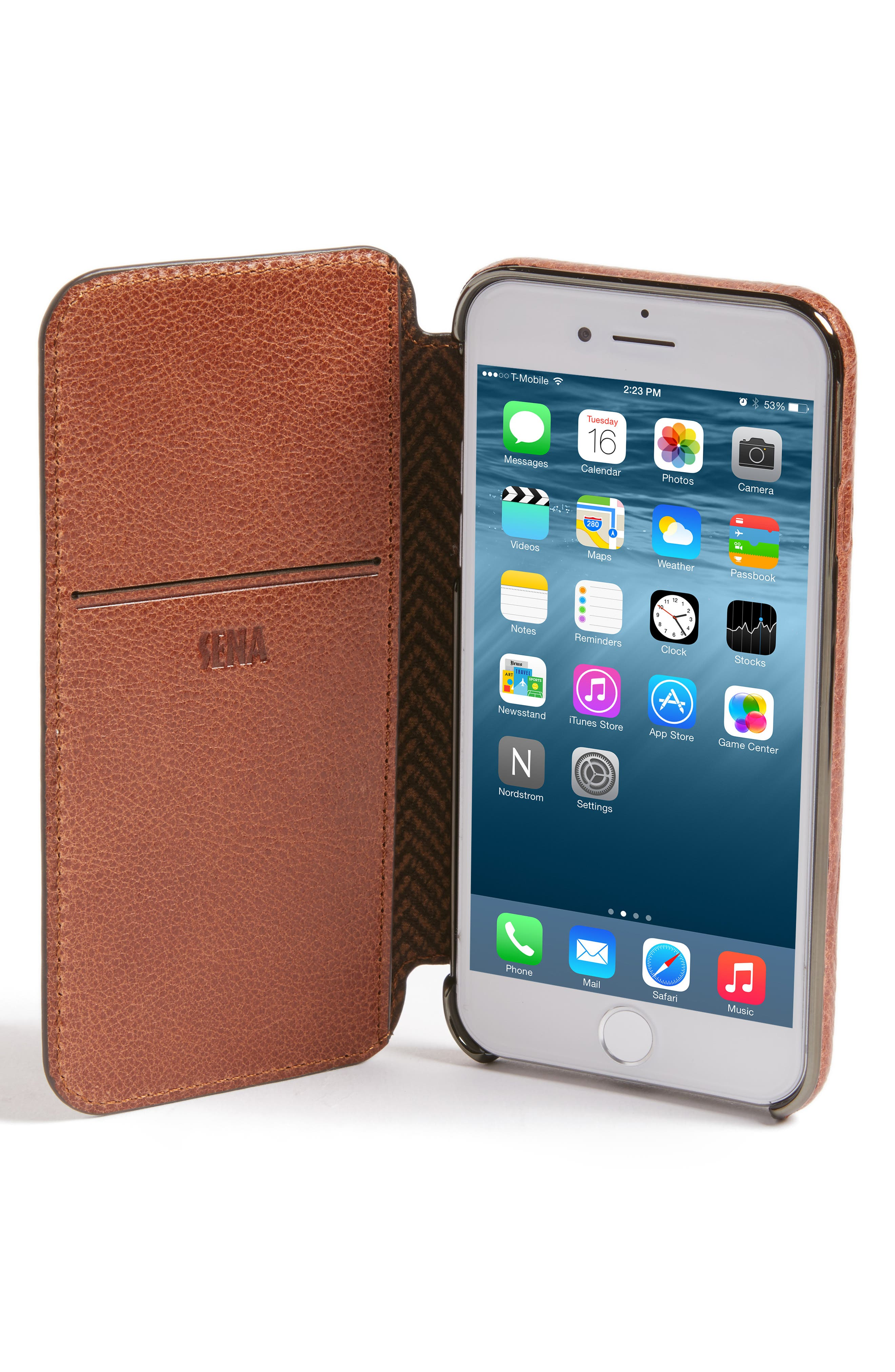 iPhone 7/8Ultra Thin Leather Wallet Case,                             Alternate thumbnail 2, color,                             Cognac