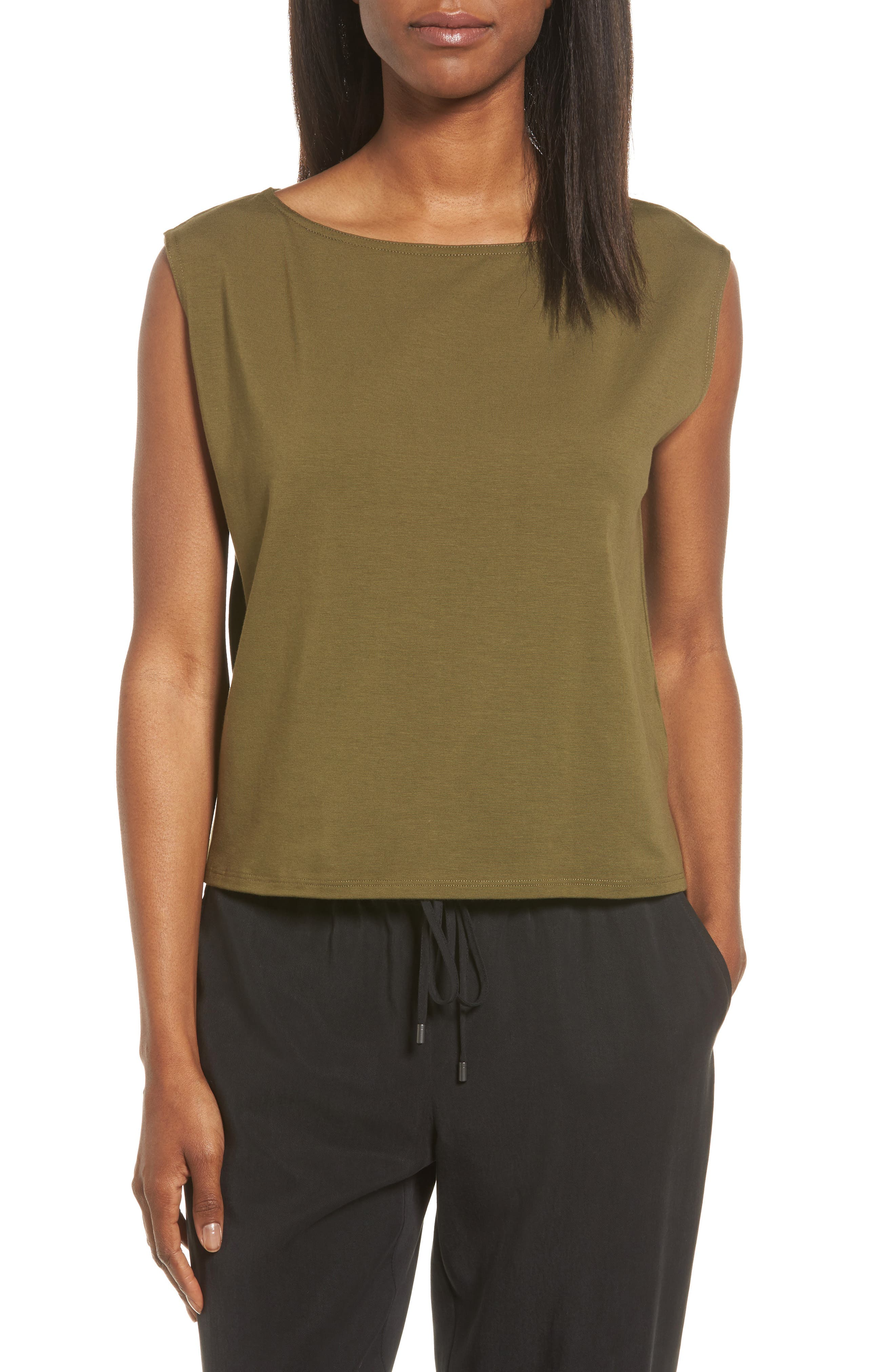Main Image - Eileen Fisher Stretch Organic Cotton Bateau Neck Crop Shell (Regular & Petite)