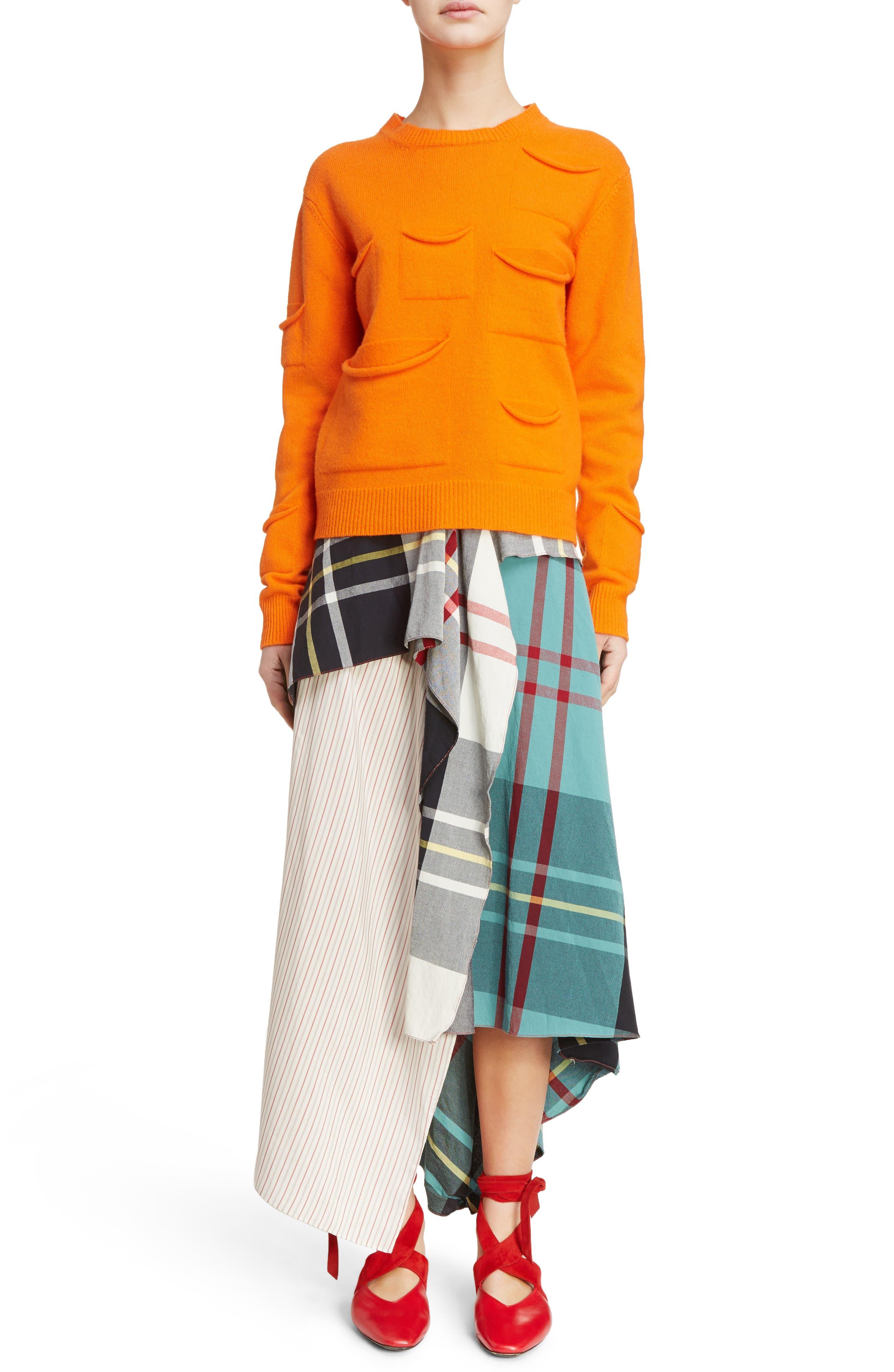J.W.ANDERSON Multi Pocket Crewneck Sweater,                             Alternate thumbnail 6, color,                             Tangerine