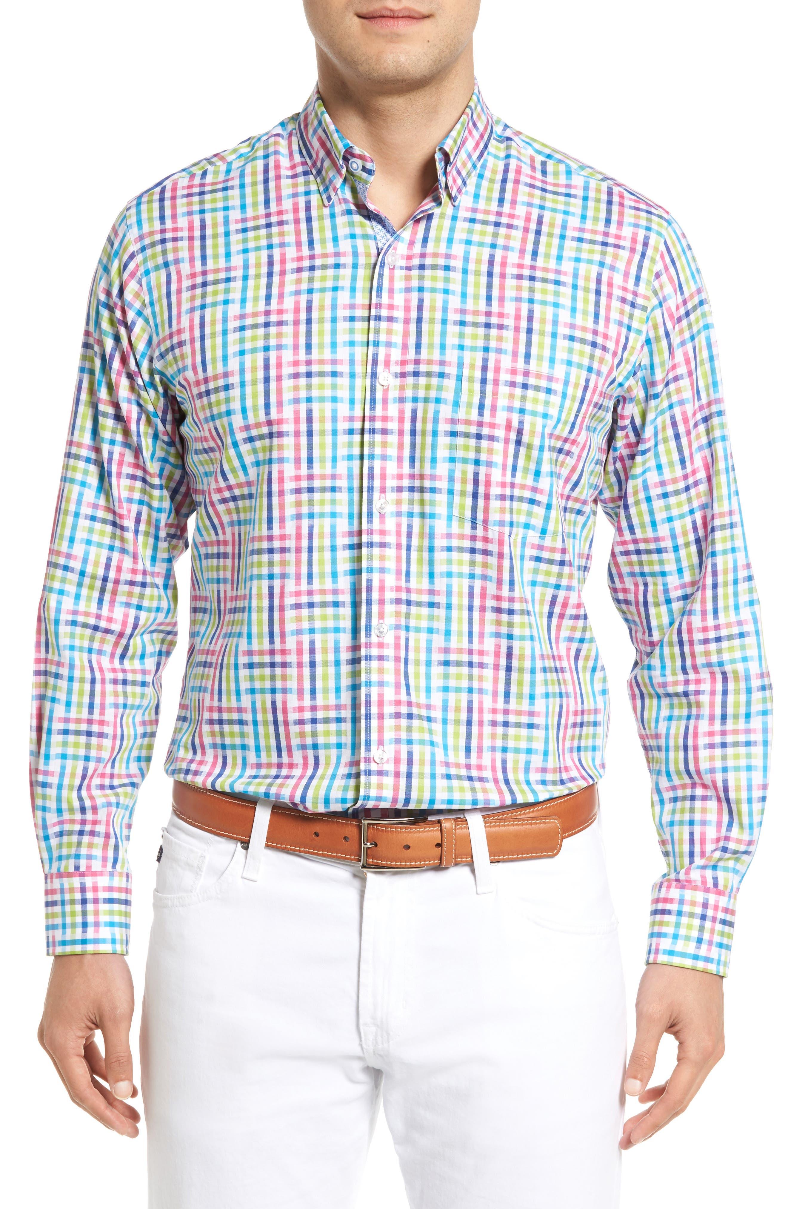 Cliffrose Regular Fit Buffalo Check Sport Shirt,                         Main,                         color, Pink