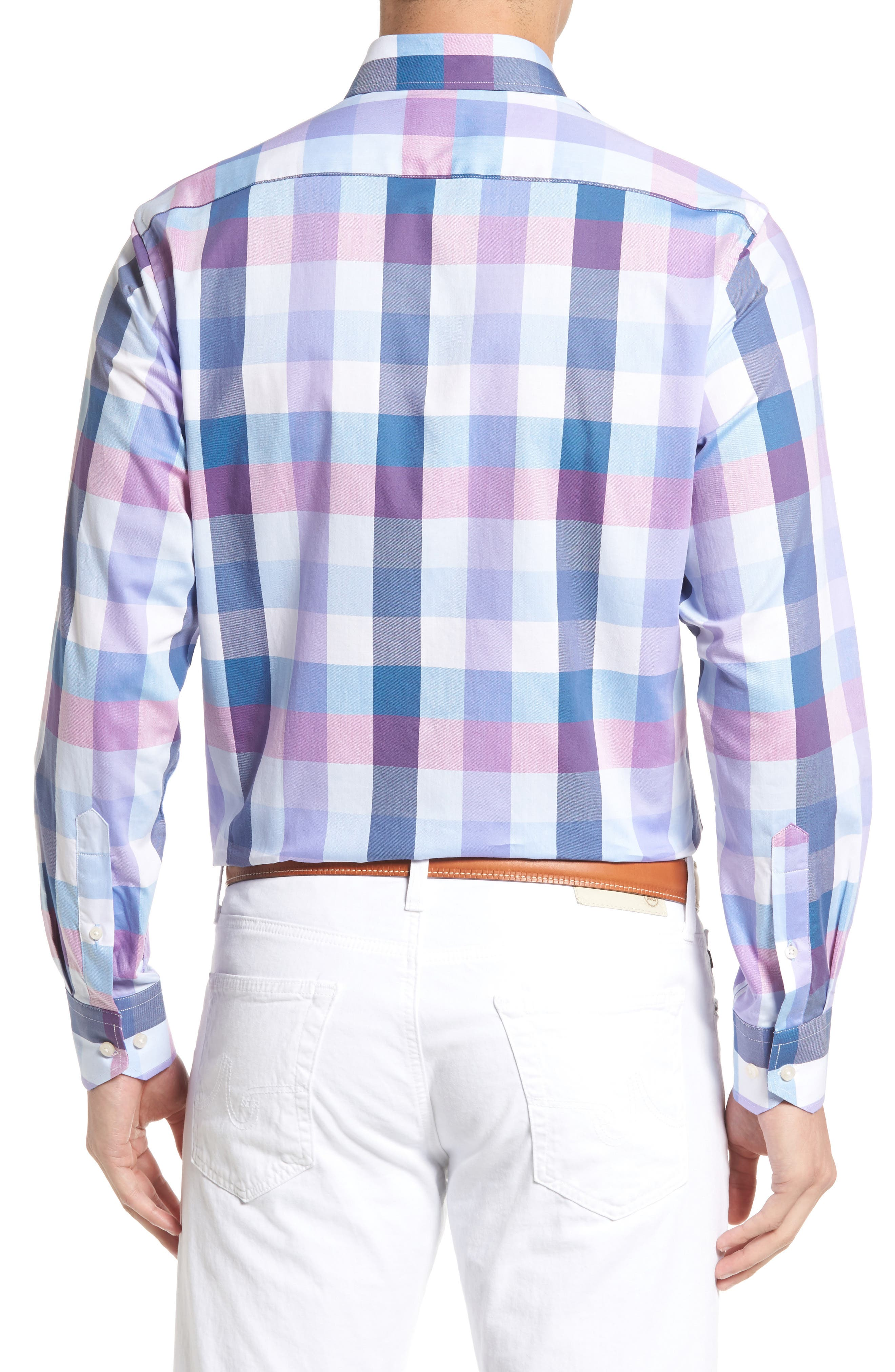 Alternate Image 2  - Tailorbyrd Accona Regular Fit Buffalo Check Sport Shirt