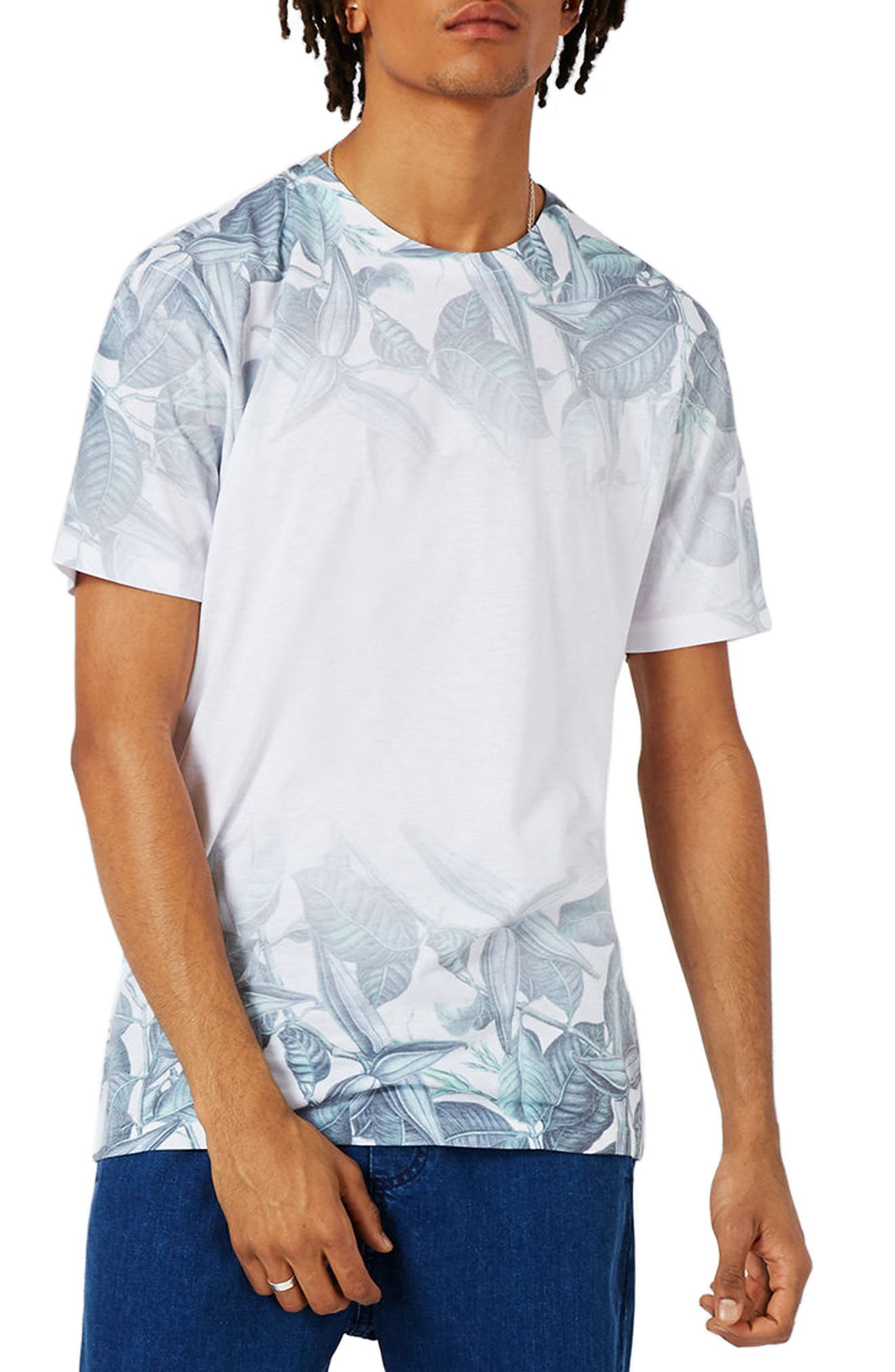 TOPMAN Slim Fit Leaf Print T-Shirt