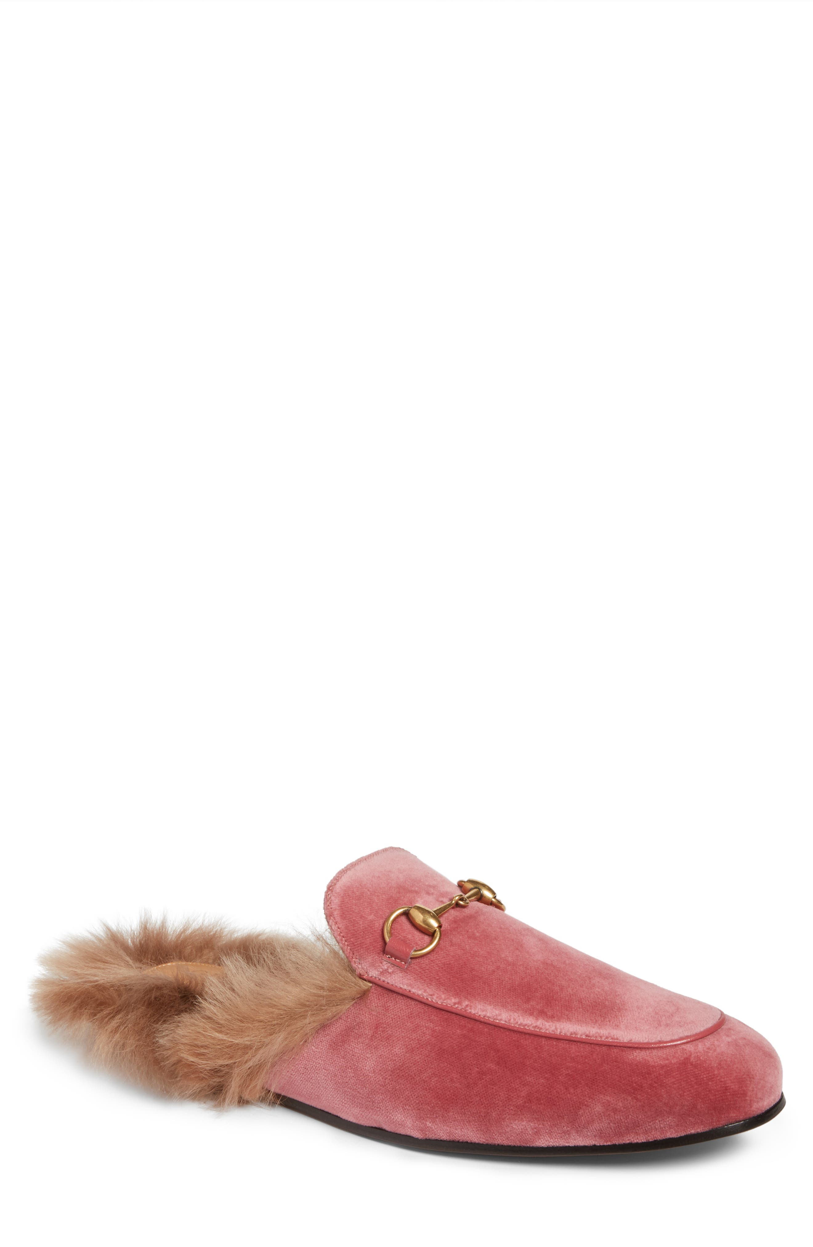 Alternate Image 1 Selected - Gucci Princetown Genuine Shearling Lined Mule Loafer (Men)