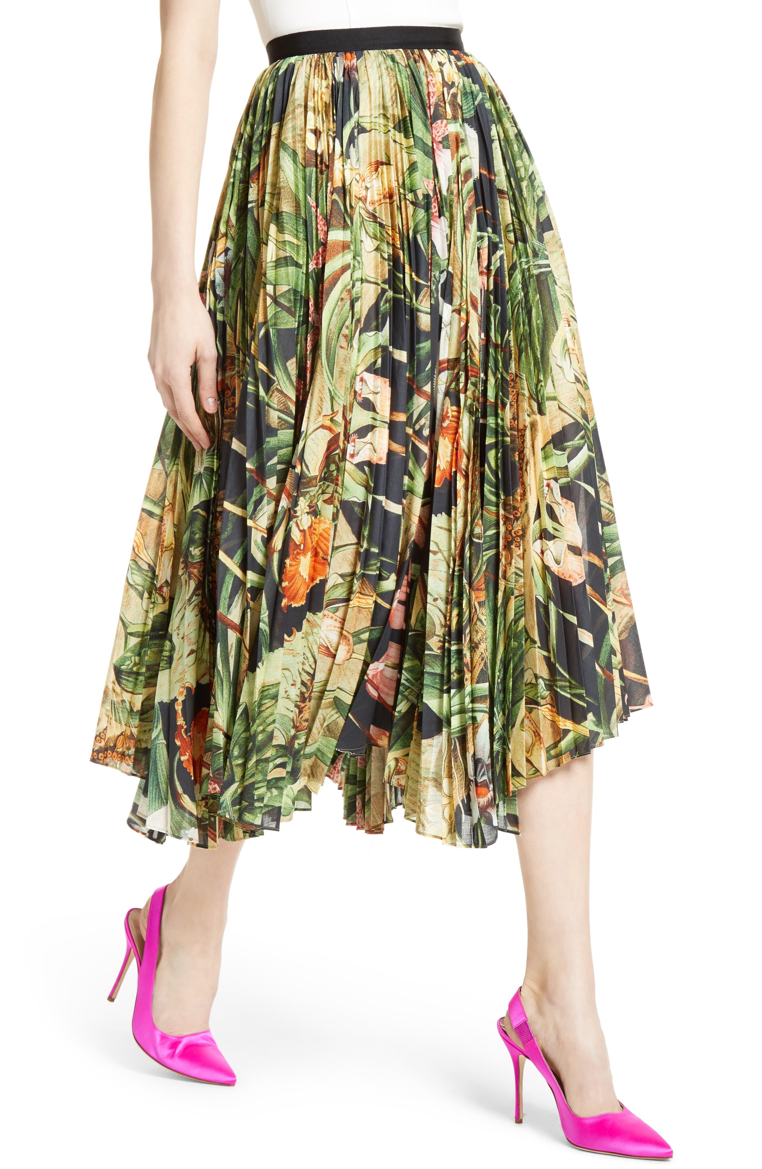 Print Cotton Voile Pleated Skirt,                             Alternate thumbnail 6, color,                             Black Orchid