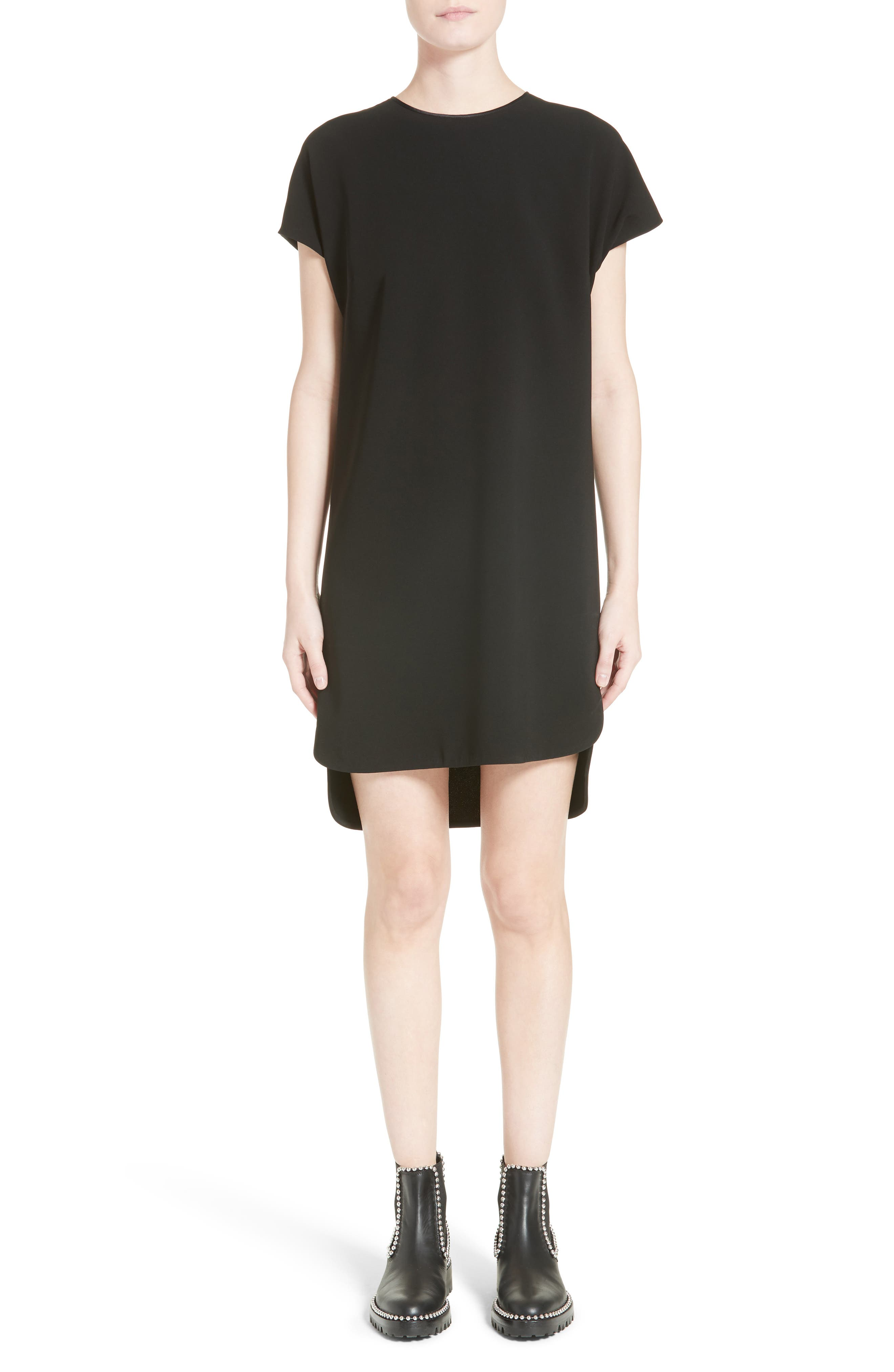 Crepe Shift Dress,                         Main,                         color, Onyx