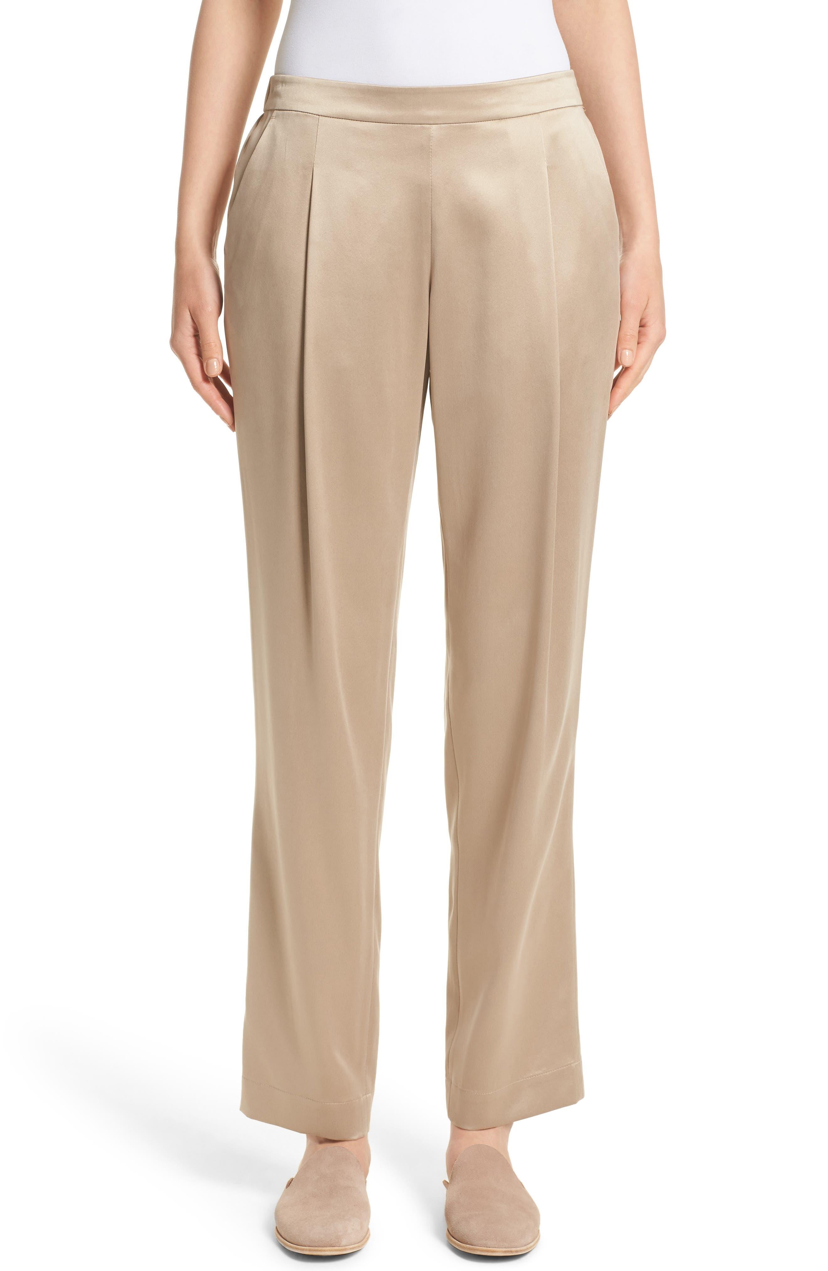 Soho Silk Track Pants,                         Main,                         color, Umber