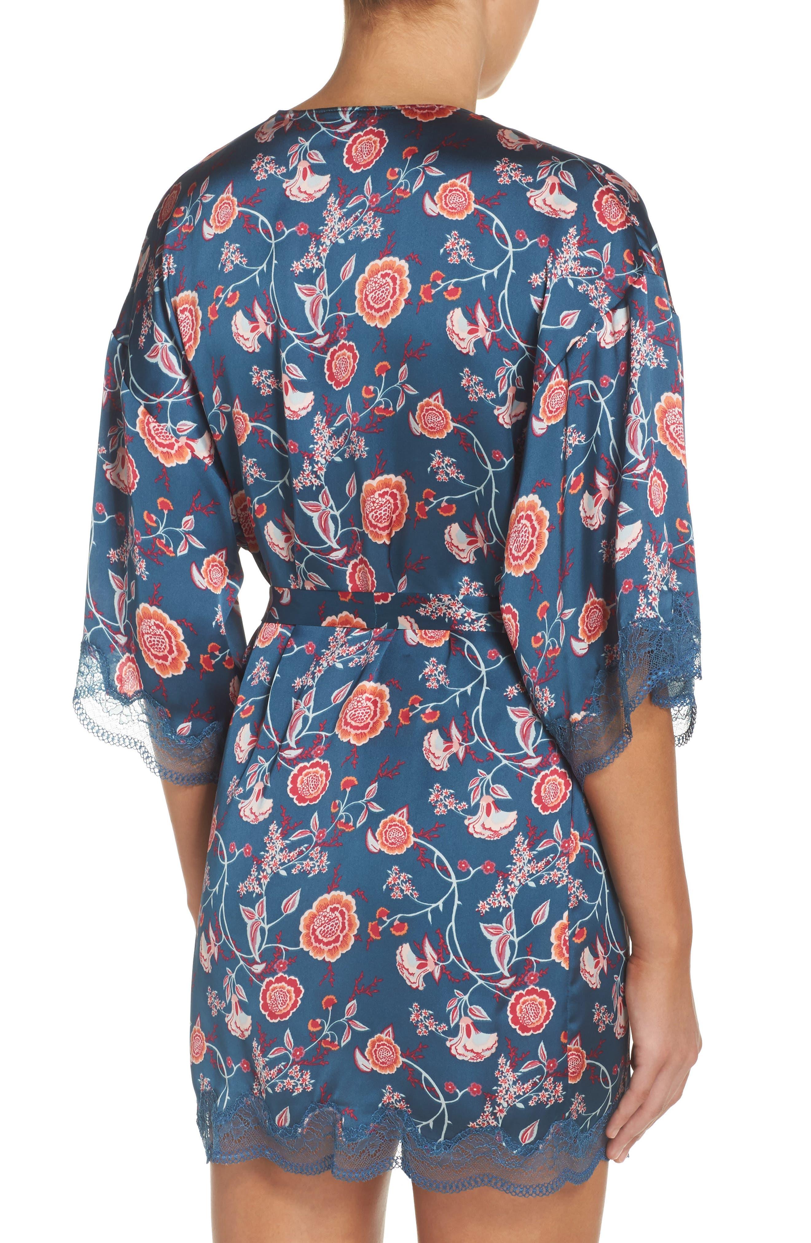 Floral Print Satin Kimono,                             Alternate thumbnail 2, color,                             Blue Ceramic Vintage Floral