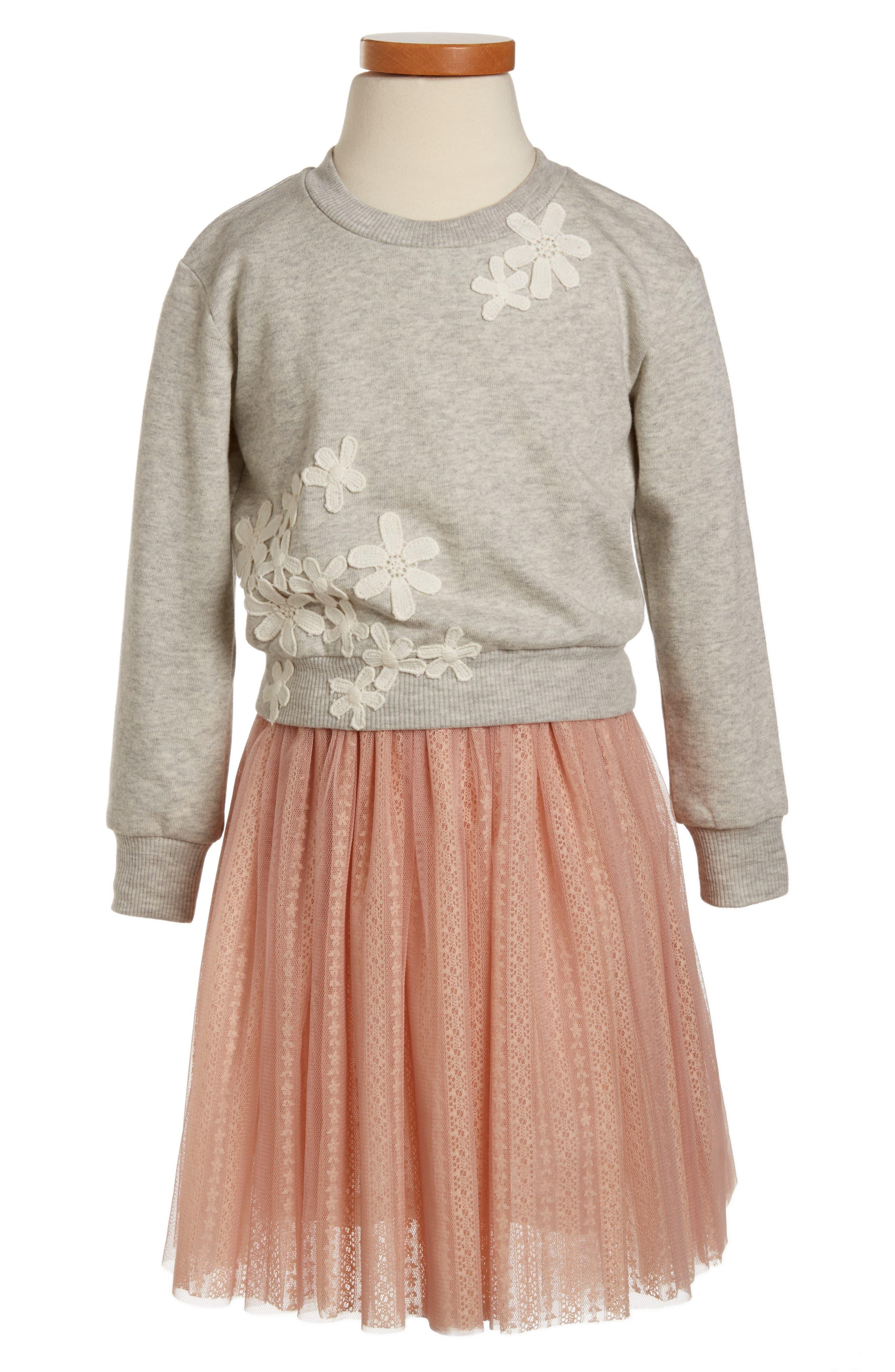 Truly Me Floral Appliqué Tulle Dress (Toddler Girls, Little Girls & Big Girls)