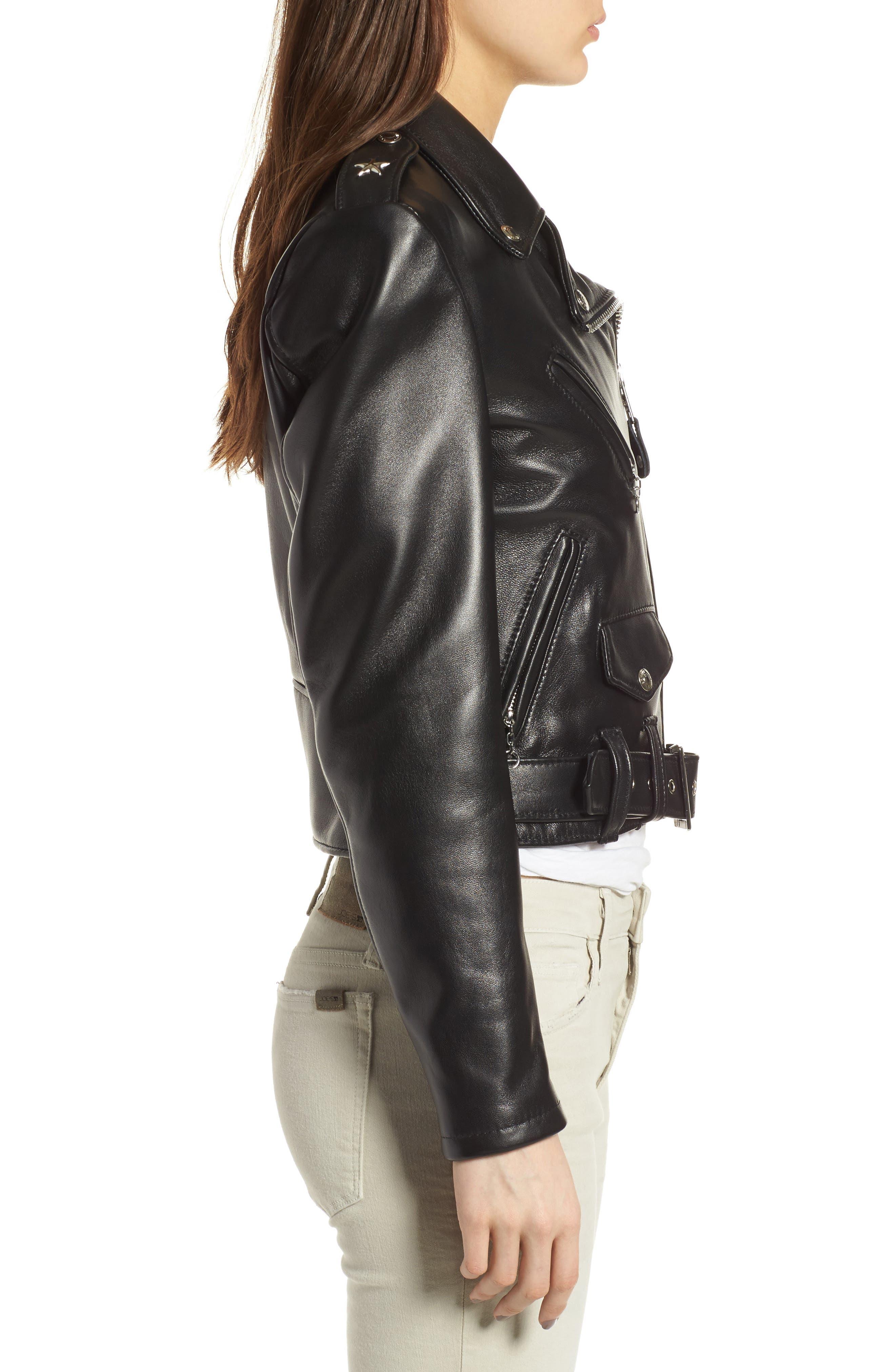 Perfecto Crop Leather Jacket,                             Alternate thumbnail 3, color,                             Black