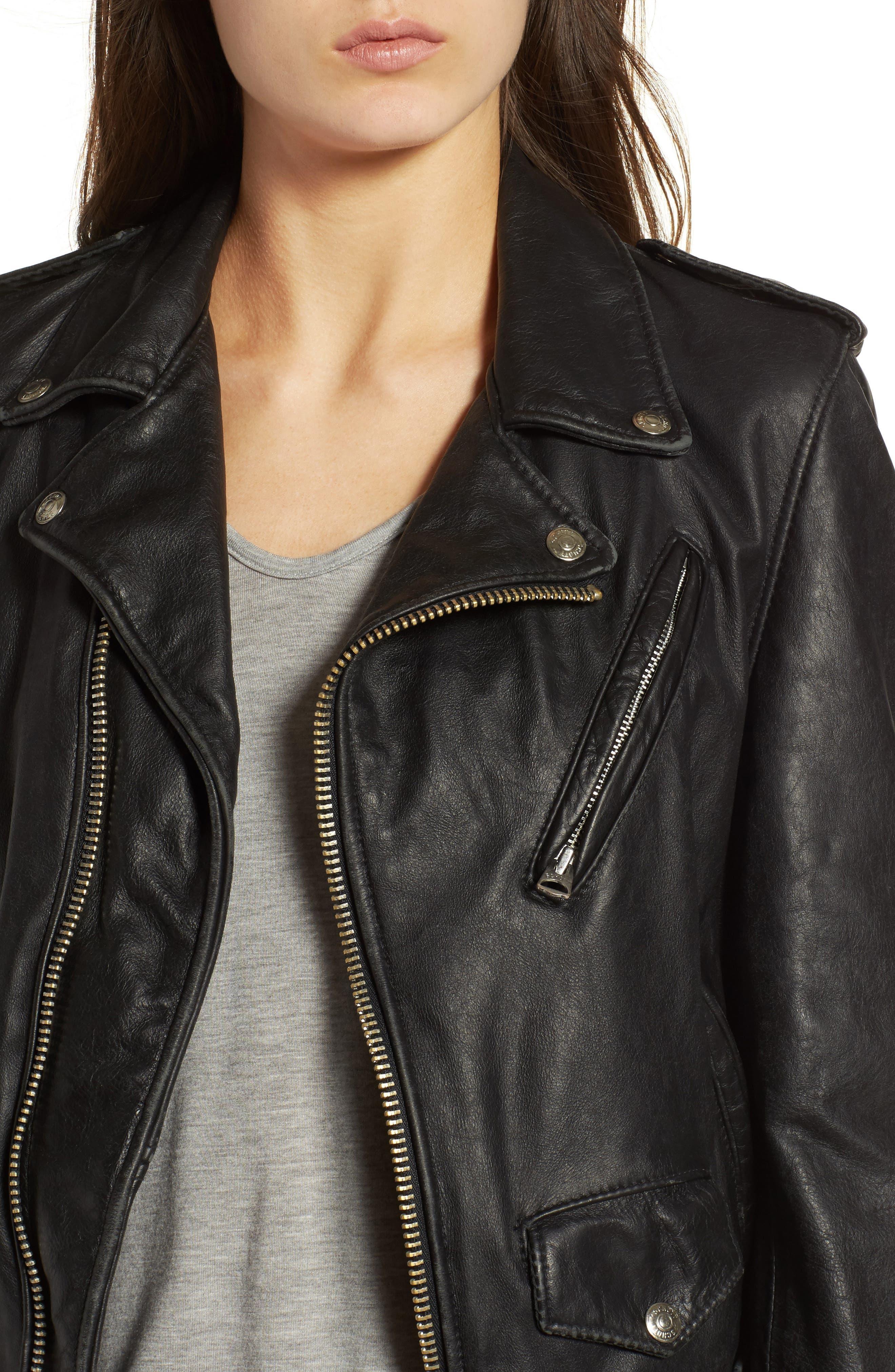Boyfriend Leather Jacket,                             Alternate thumbnail 4, color,                             Black