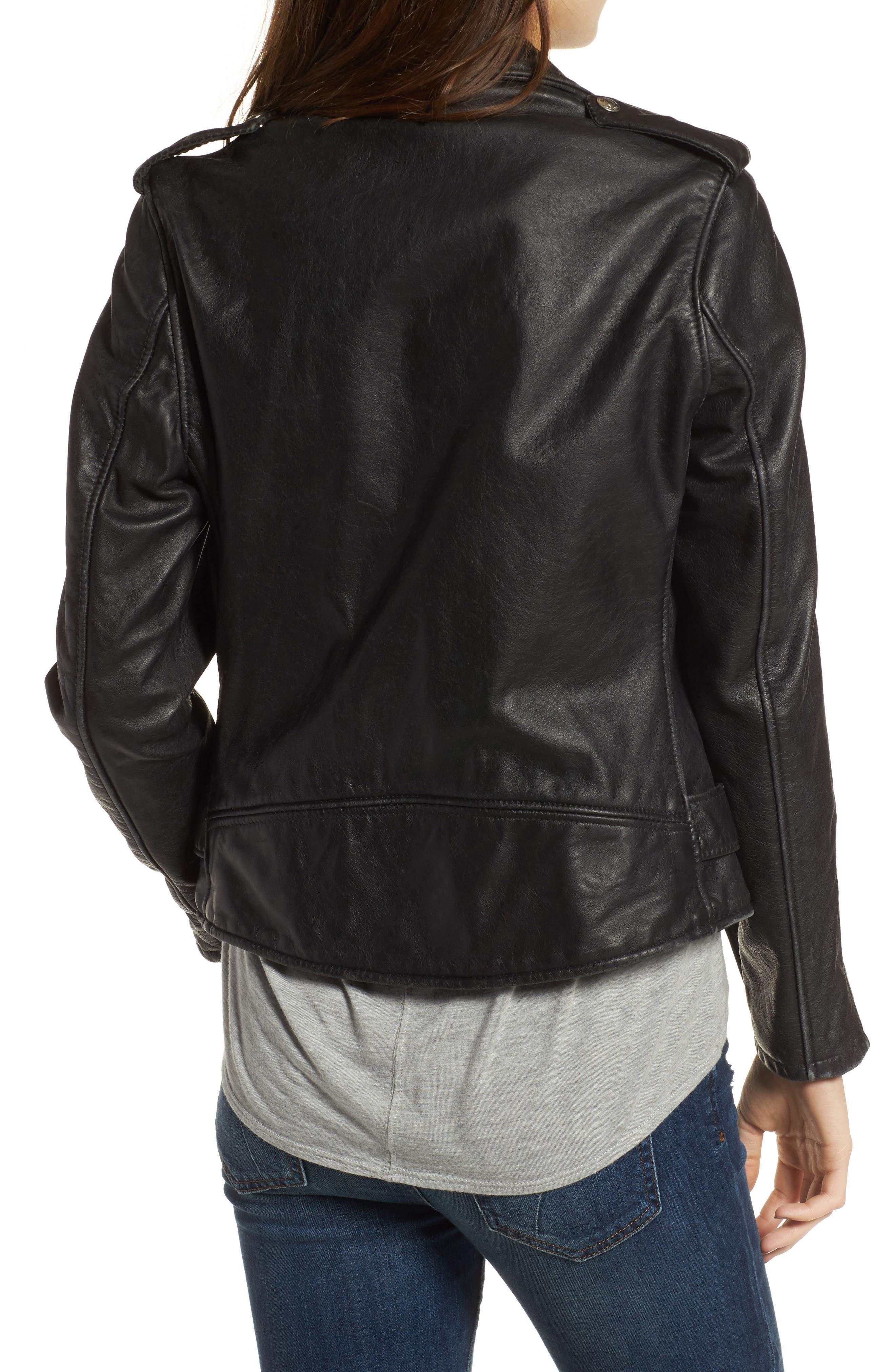 Boyfriend Leather Jacket,                             Alternate thumbnail 2, color,                             Black