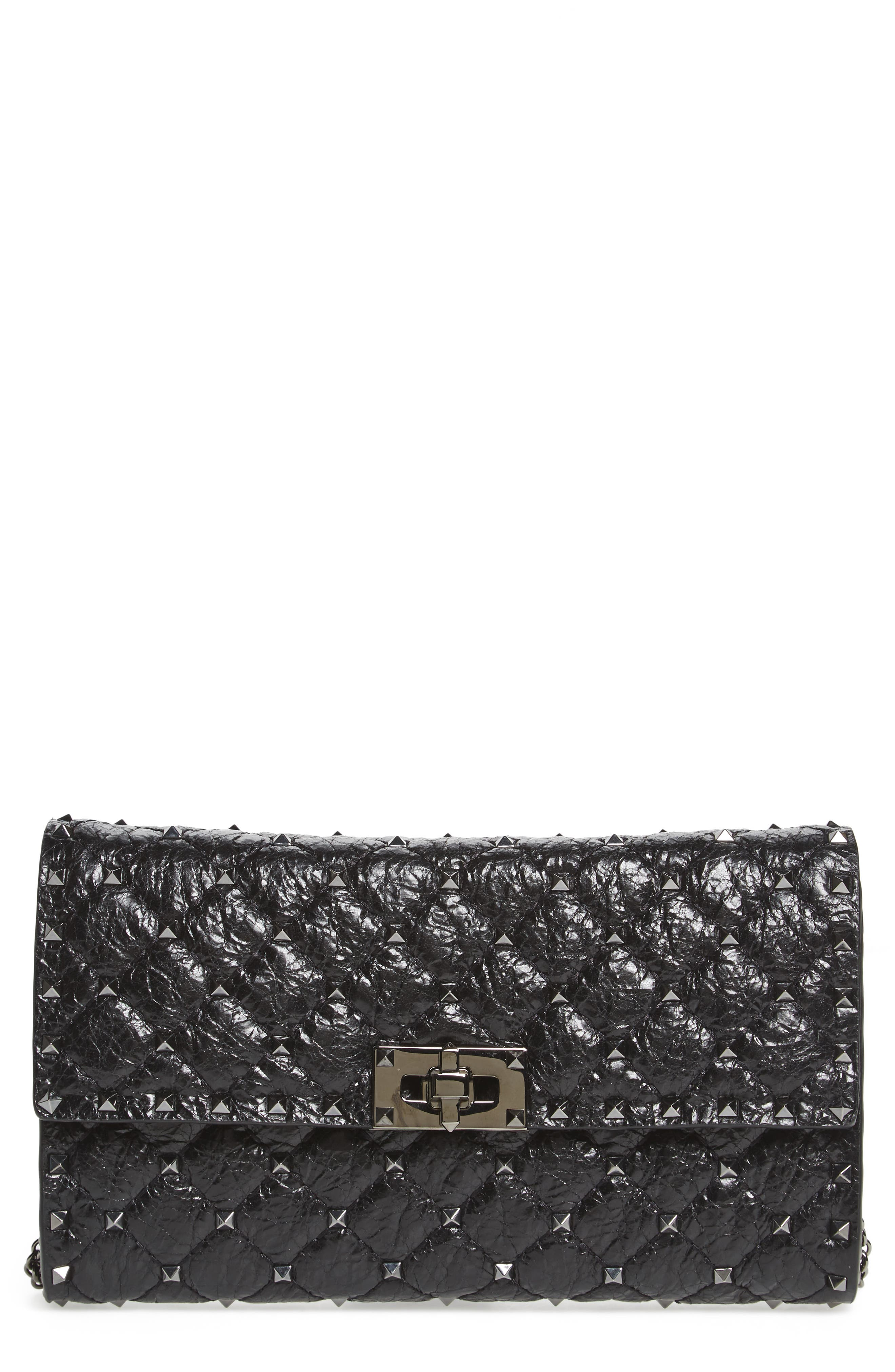 Rockstud Spike Wallet on a Chain,                         Main,                         color, Black