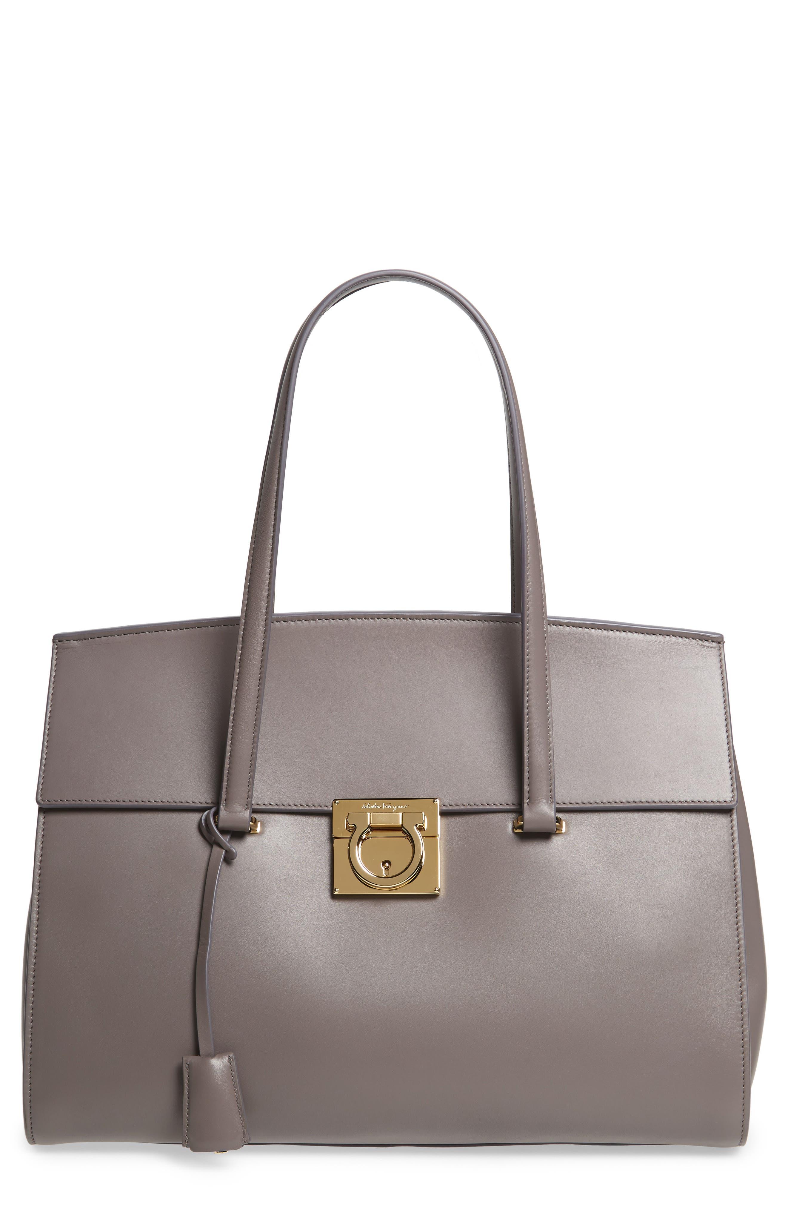 Salvatore Ferragamo Large Smooth Leather Tote