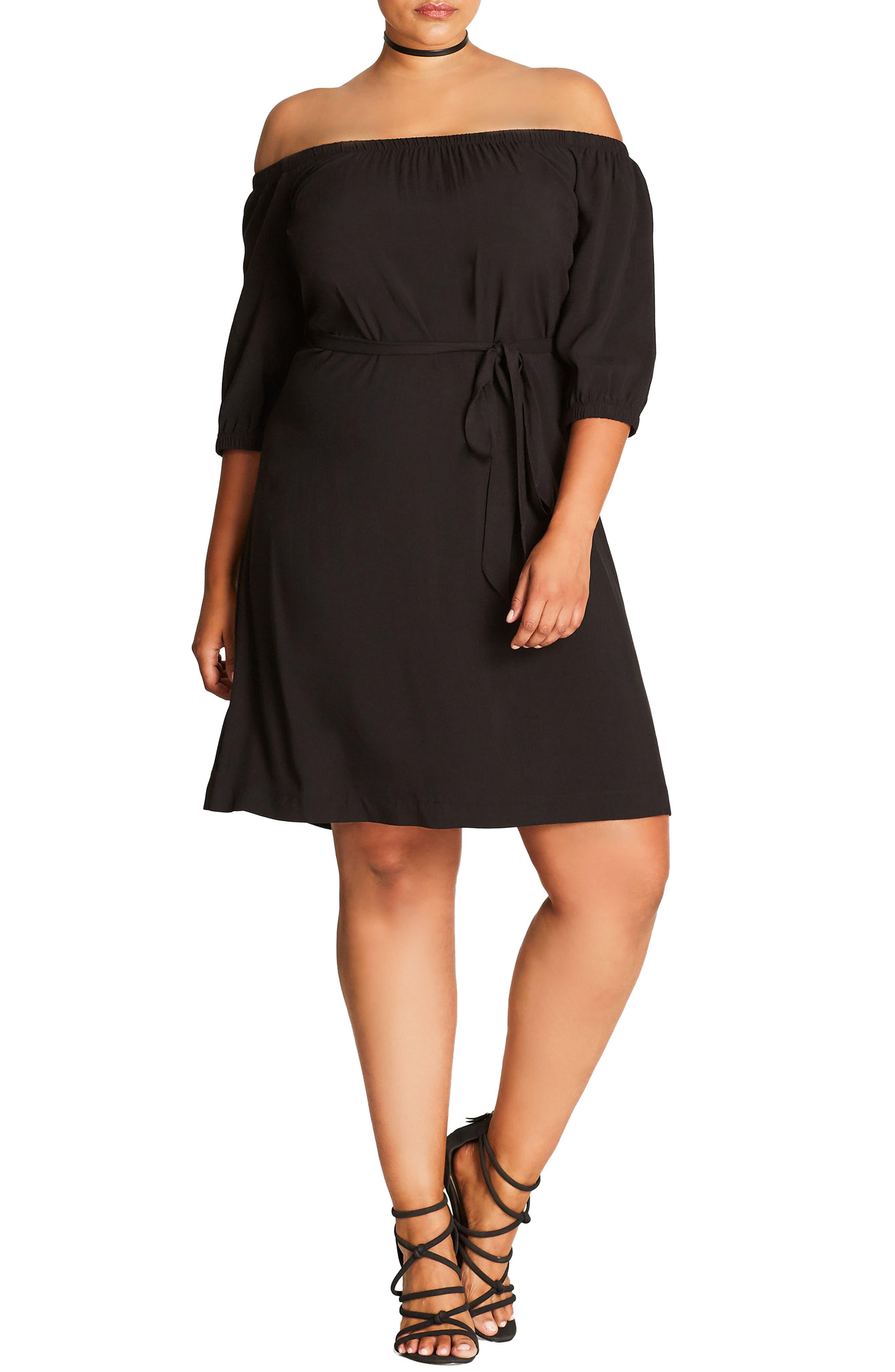 City Chic Off the Shoulder Shift Dress (Plus Size)