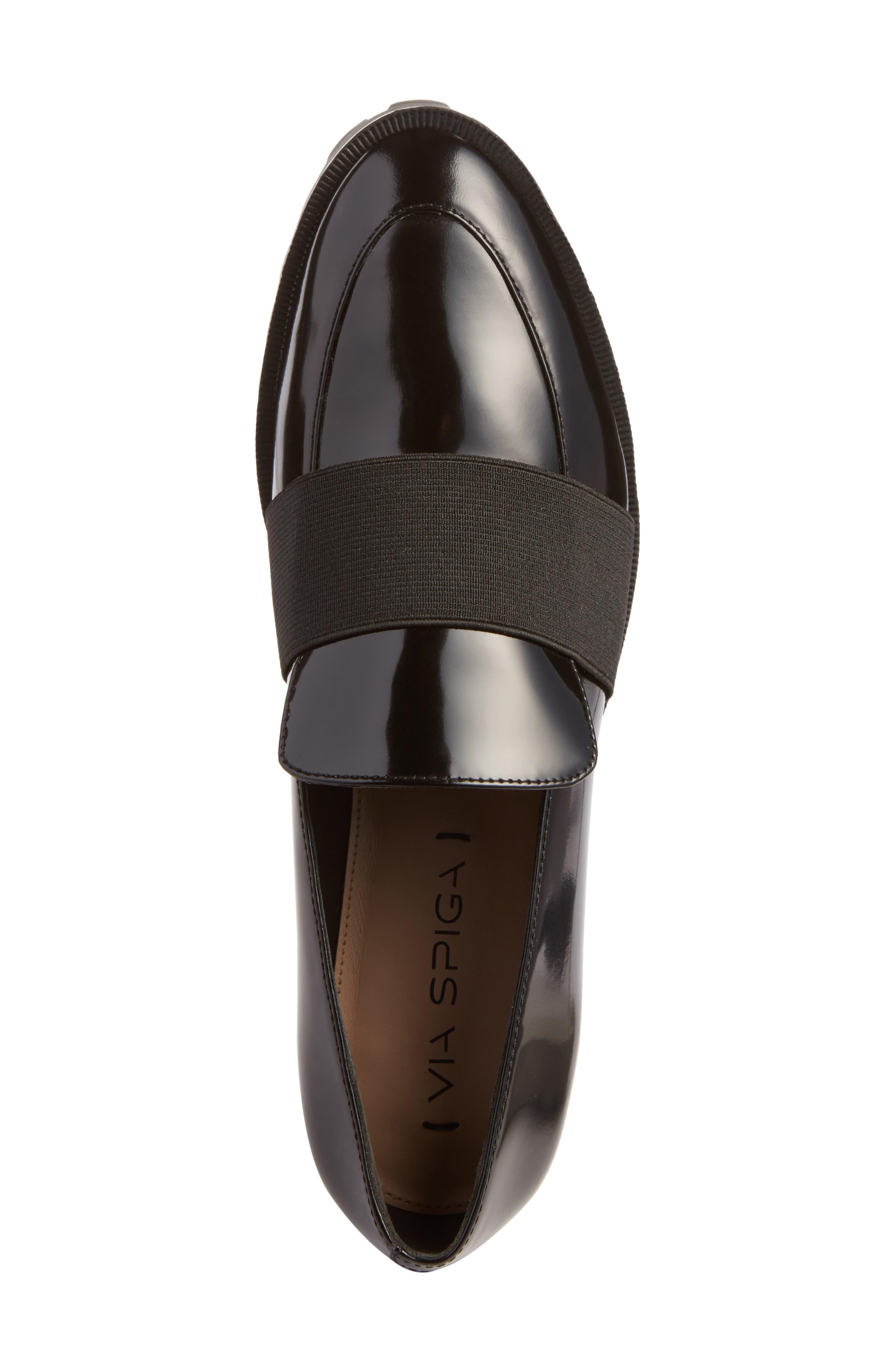 Gallo Platform Loafer,                             Alternate thumbnail 6, color,                             Black Leather