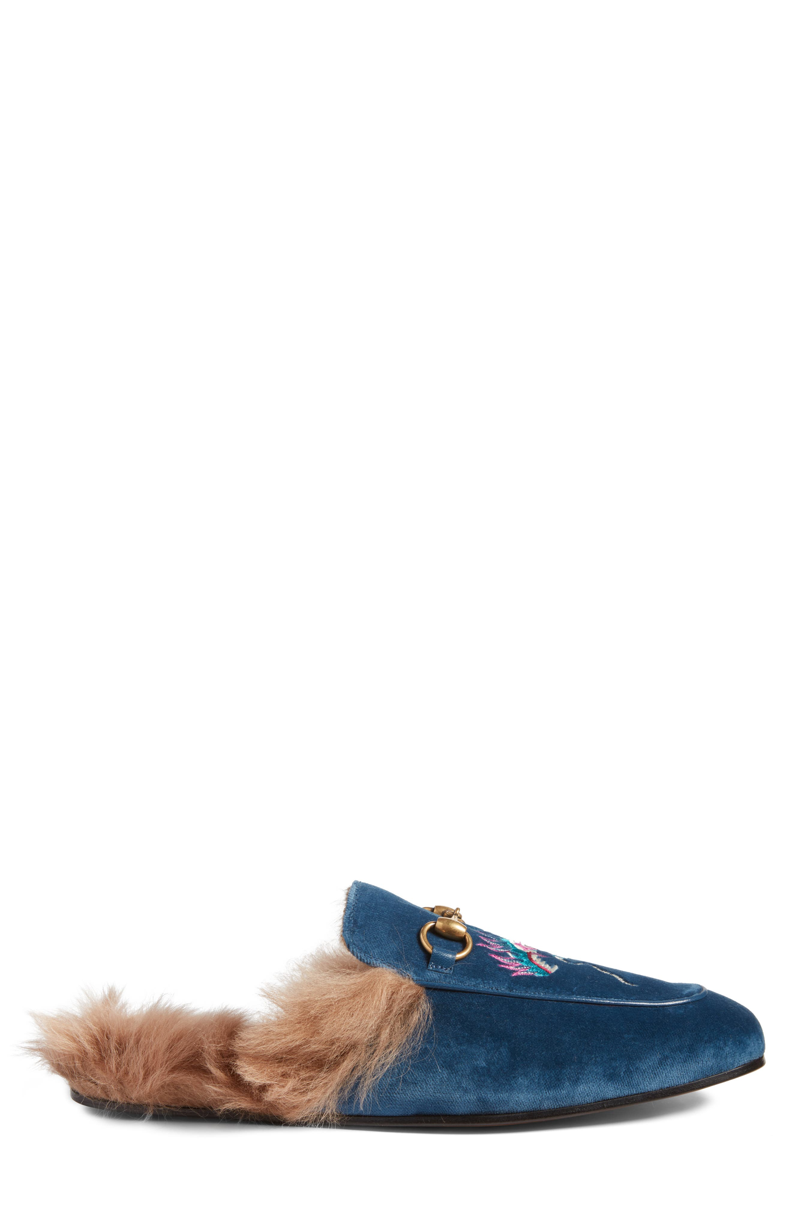 Princetown Genuine Shearling Lined Mule Loafer,                             Alternate thumbnail 3, color,                             Cobalt Multi