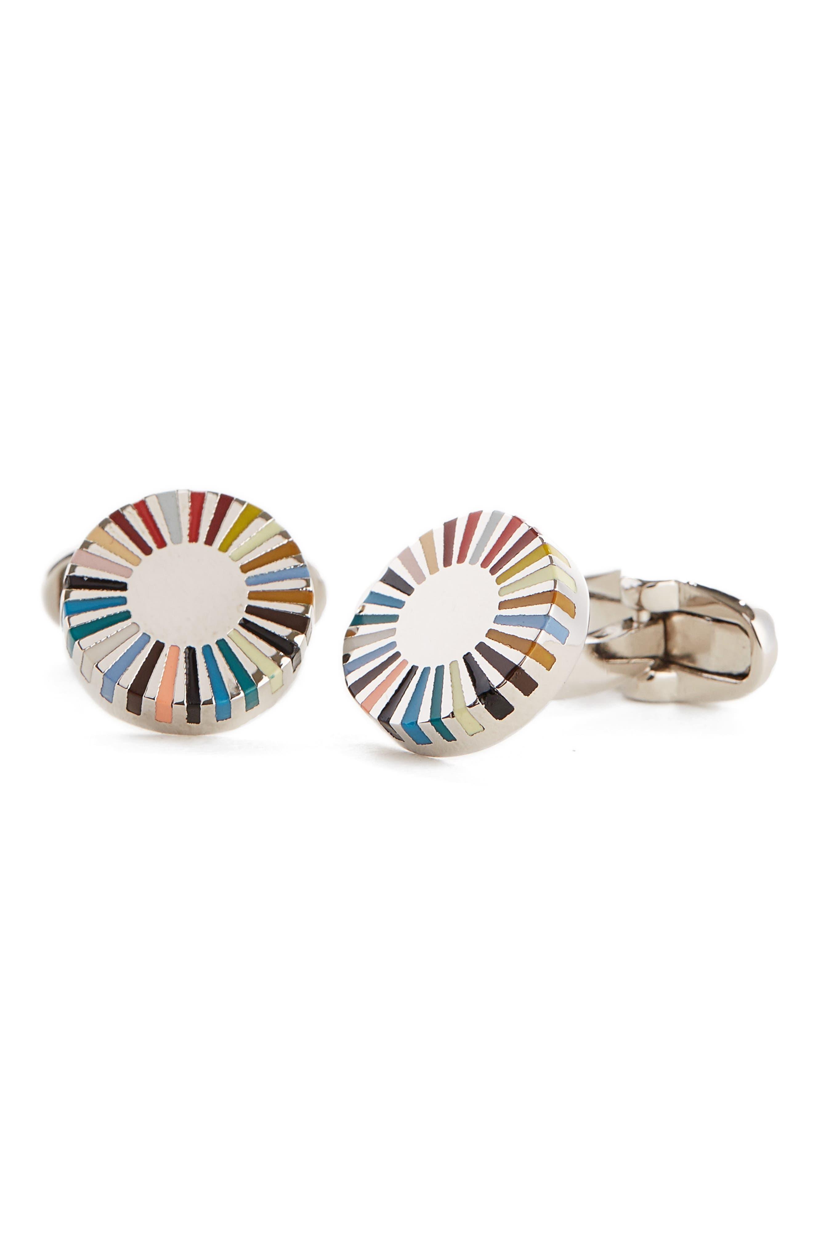 Multistripe Cuff Links,                         Main,                         color, Metallic Silver