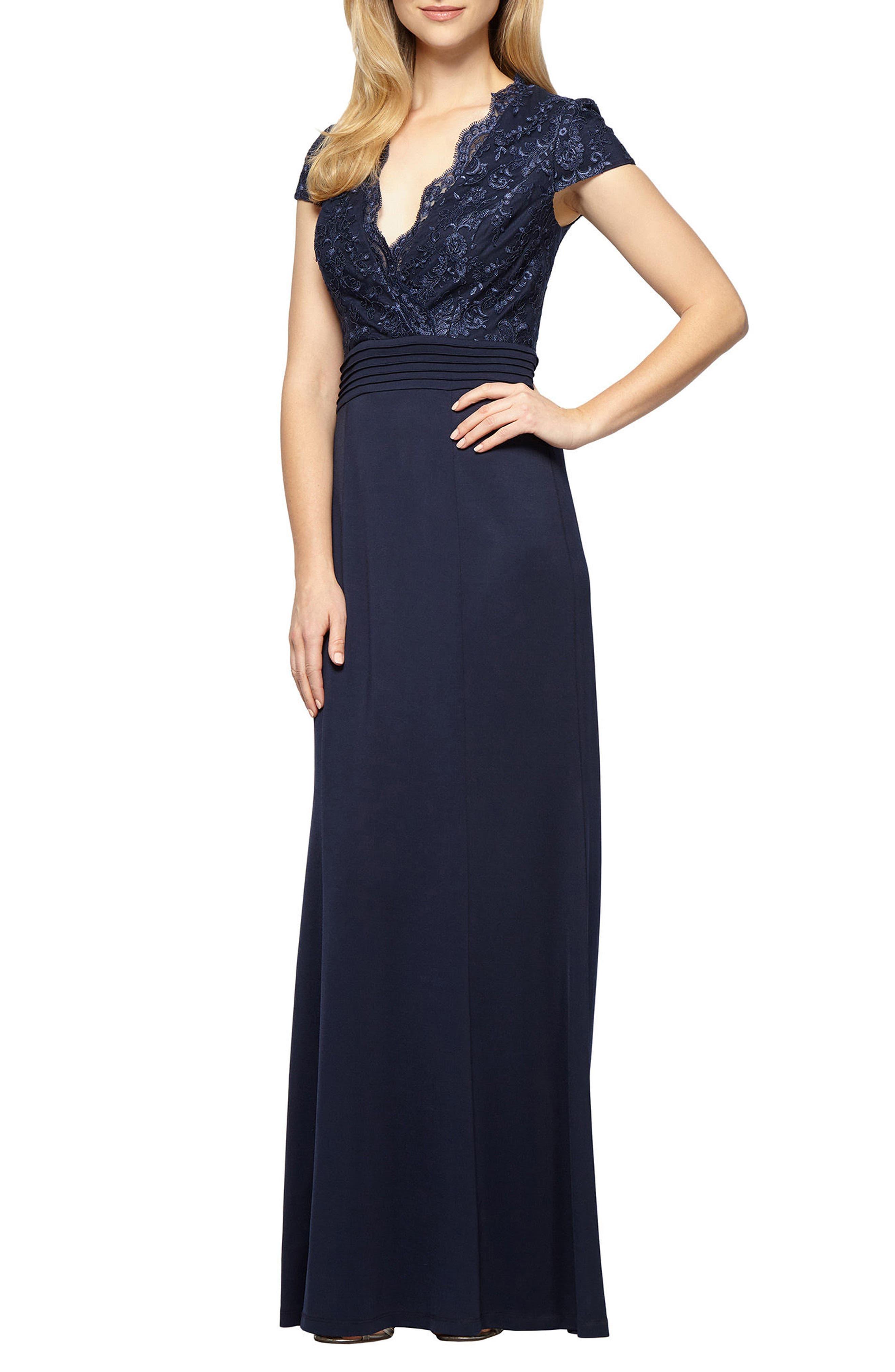Alex Evenings Lace & Jersey A-Line Gown