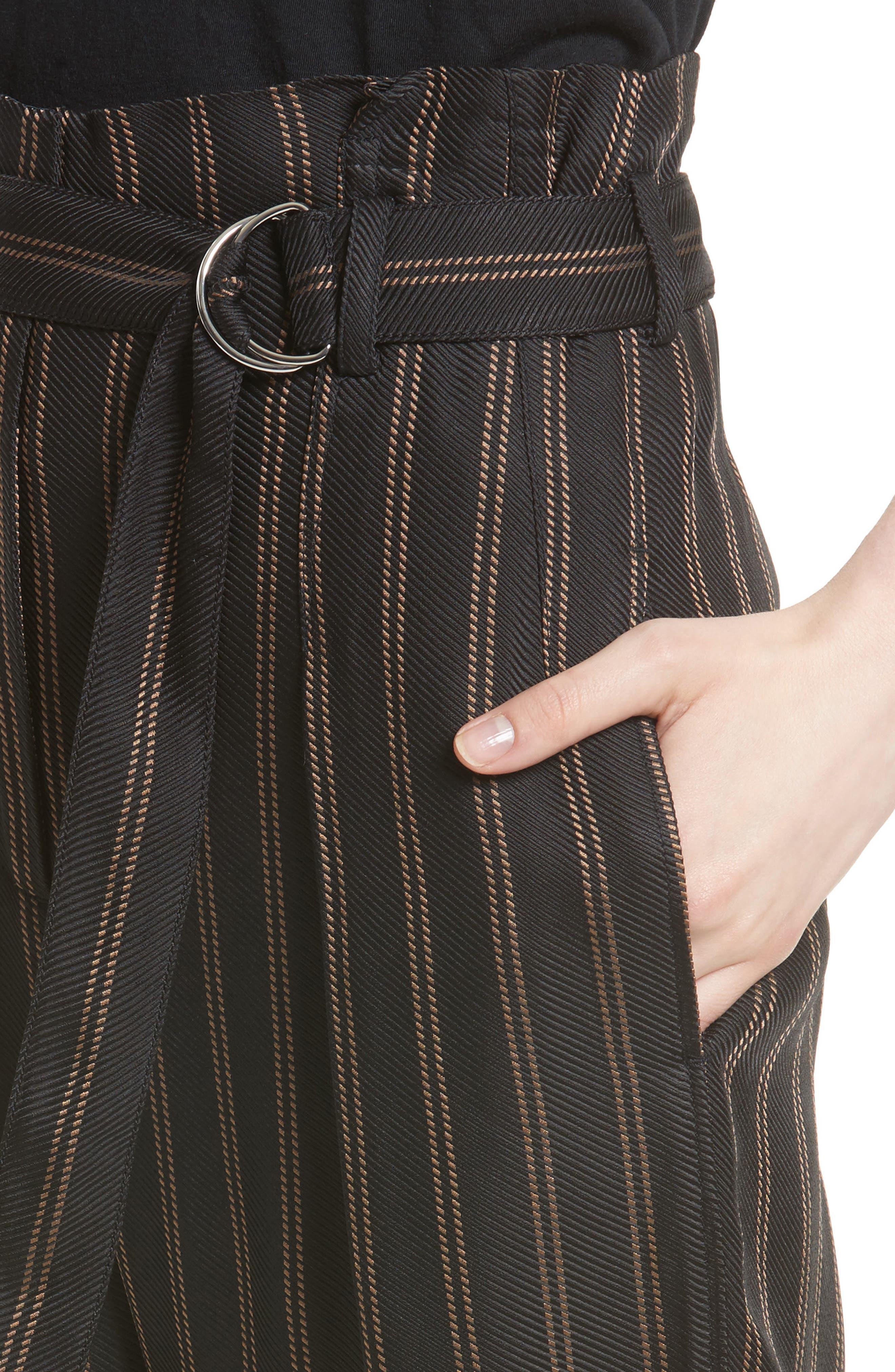Belted Pleat Crop Pants,                             Alternate thumbnail 5, color,                             Black/ Tan