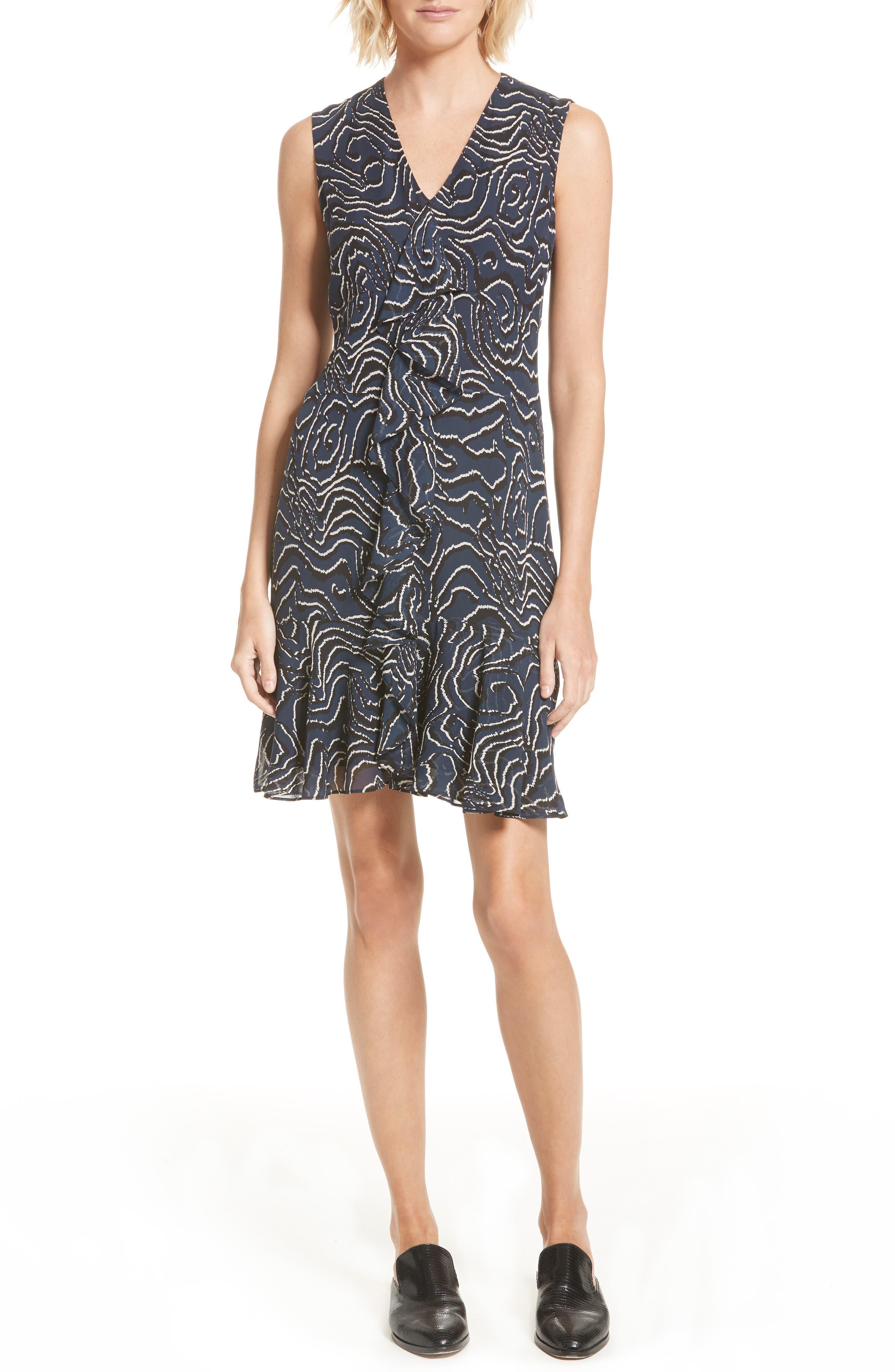 Ruffle Print Silk Dress,                             Main thumbnail 1, color,                             Midnight