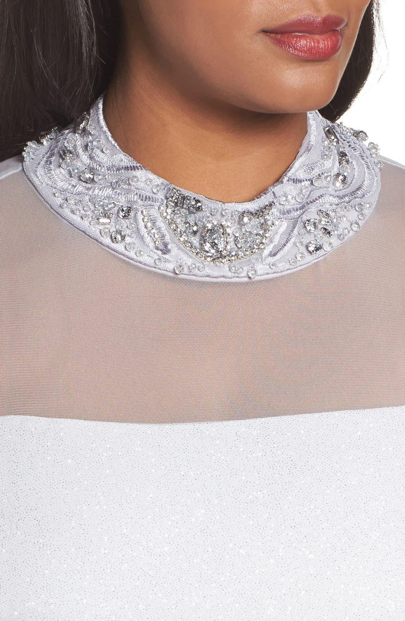 Alternate Image 4  - Marina Glitter Ottoman Knit Sheath Gown (Plus Size)