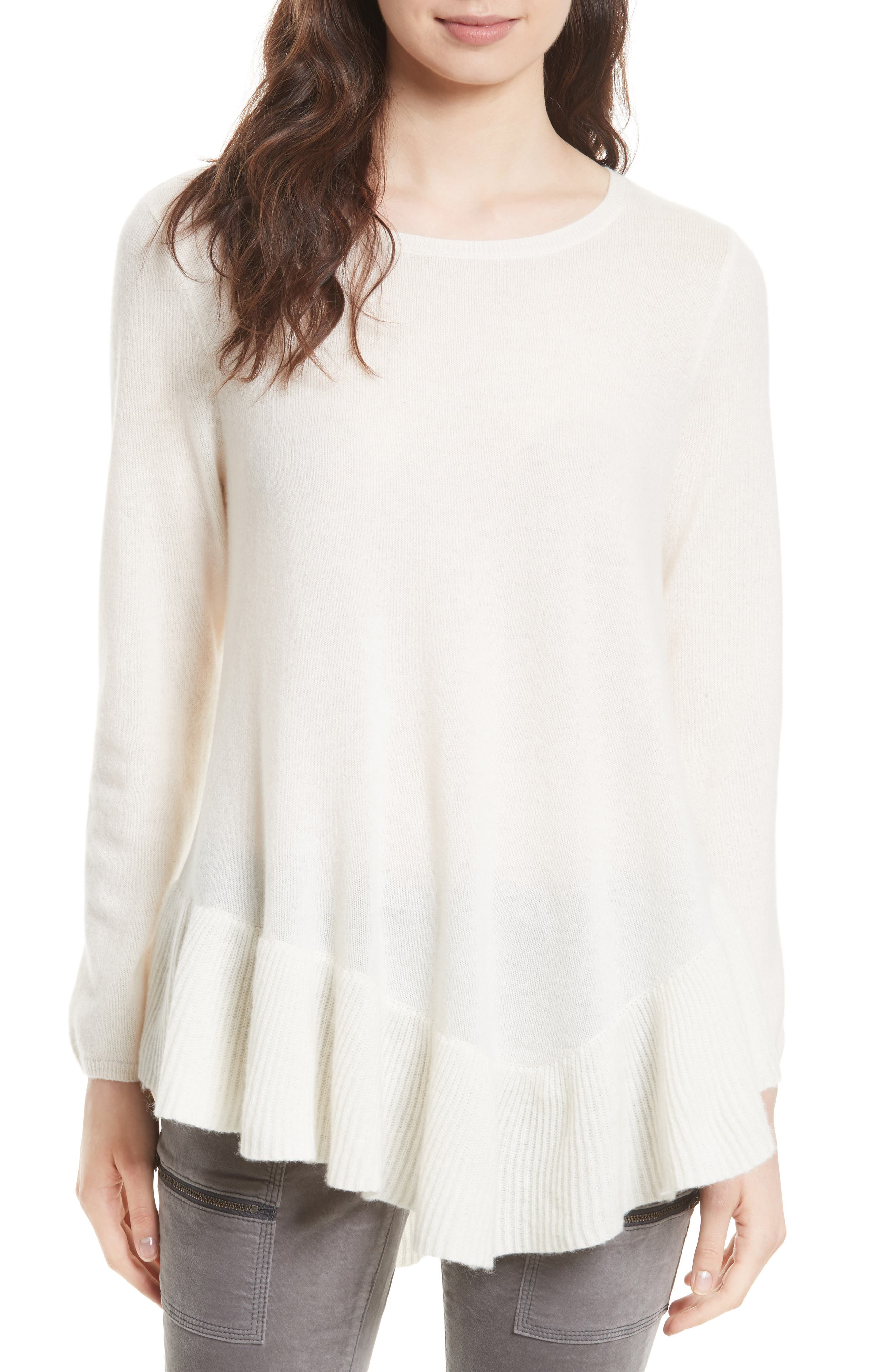 Tambrel N Wool & Cashmere Asymmetrical Sweater Tunic,                         Main,                         color, Porcelain