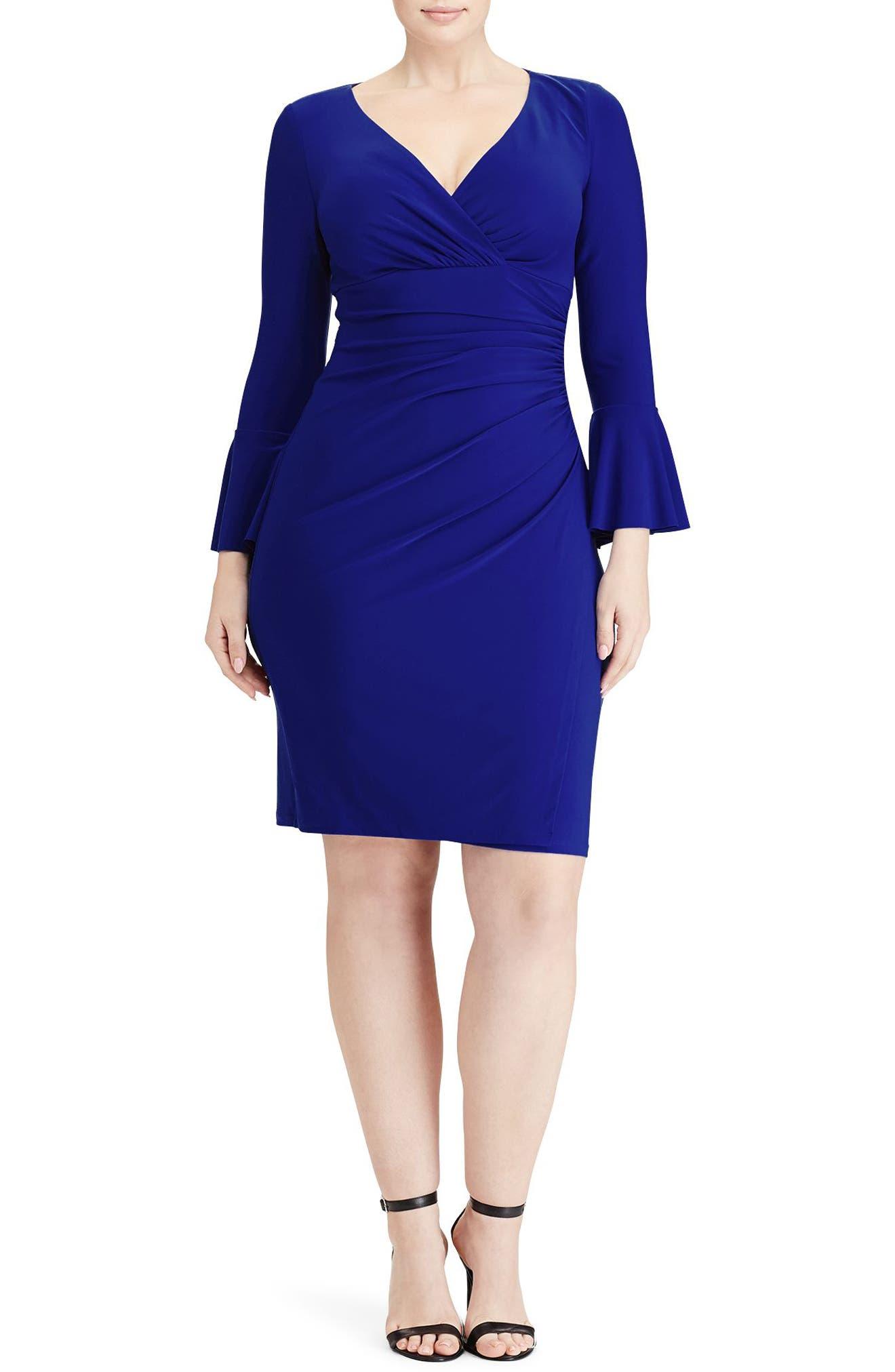 Lauren Ralph Lauren Elsietta Flared Sleeve Sheath Dress (Plus Size)