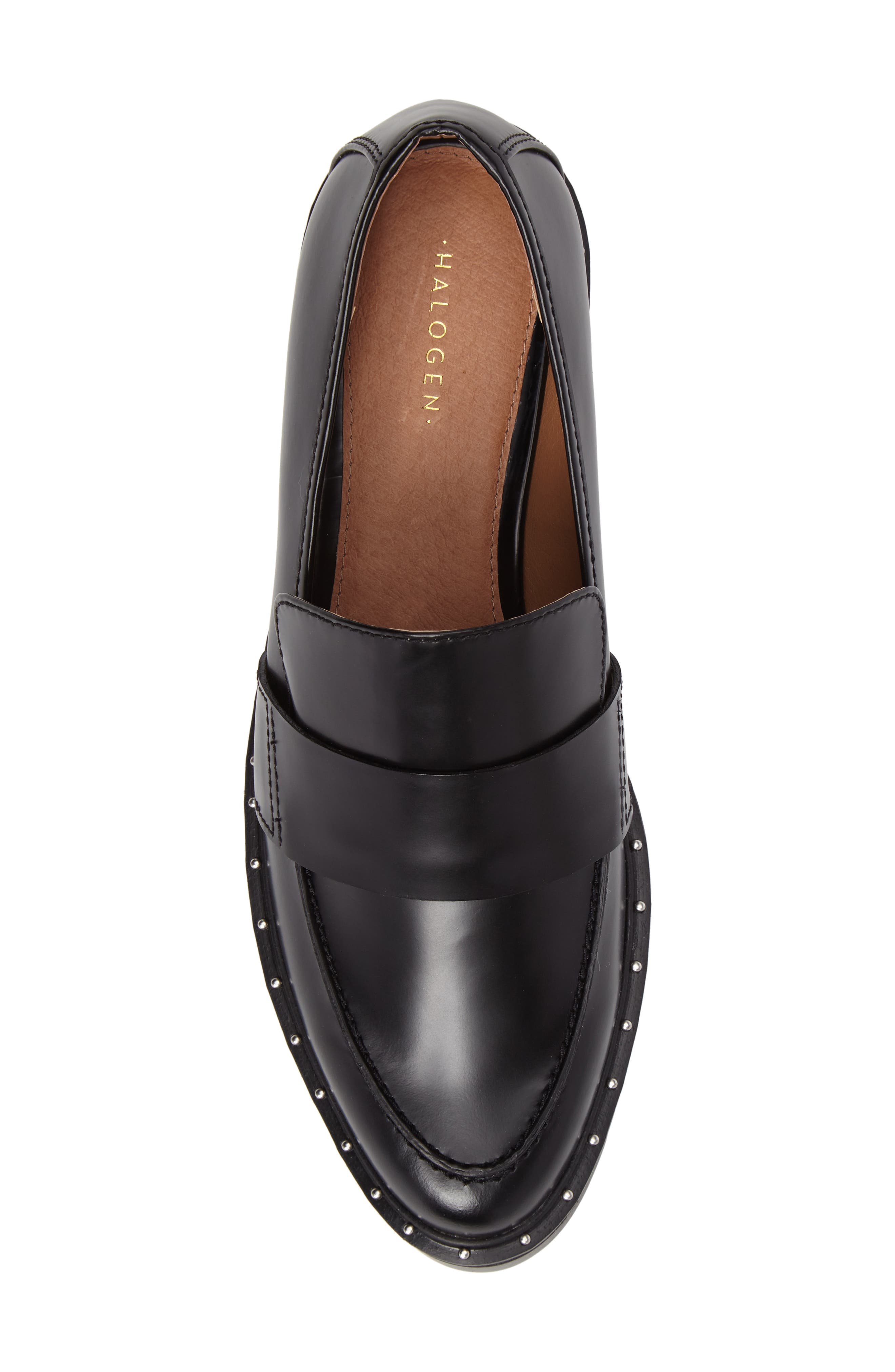 Emily Studded Flat,                             Alternate thumbnail 5, color,                             Black Box Leather