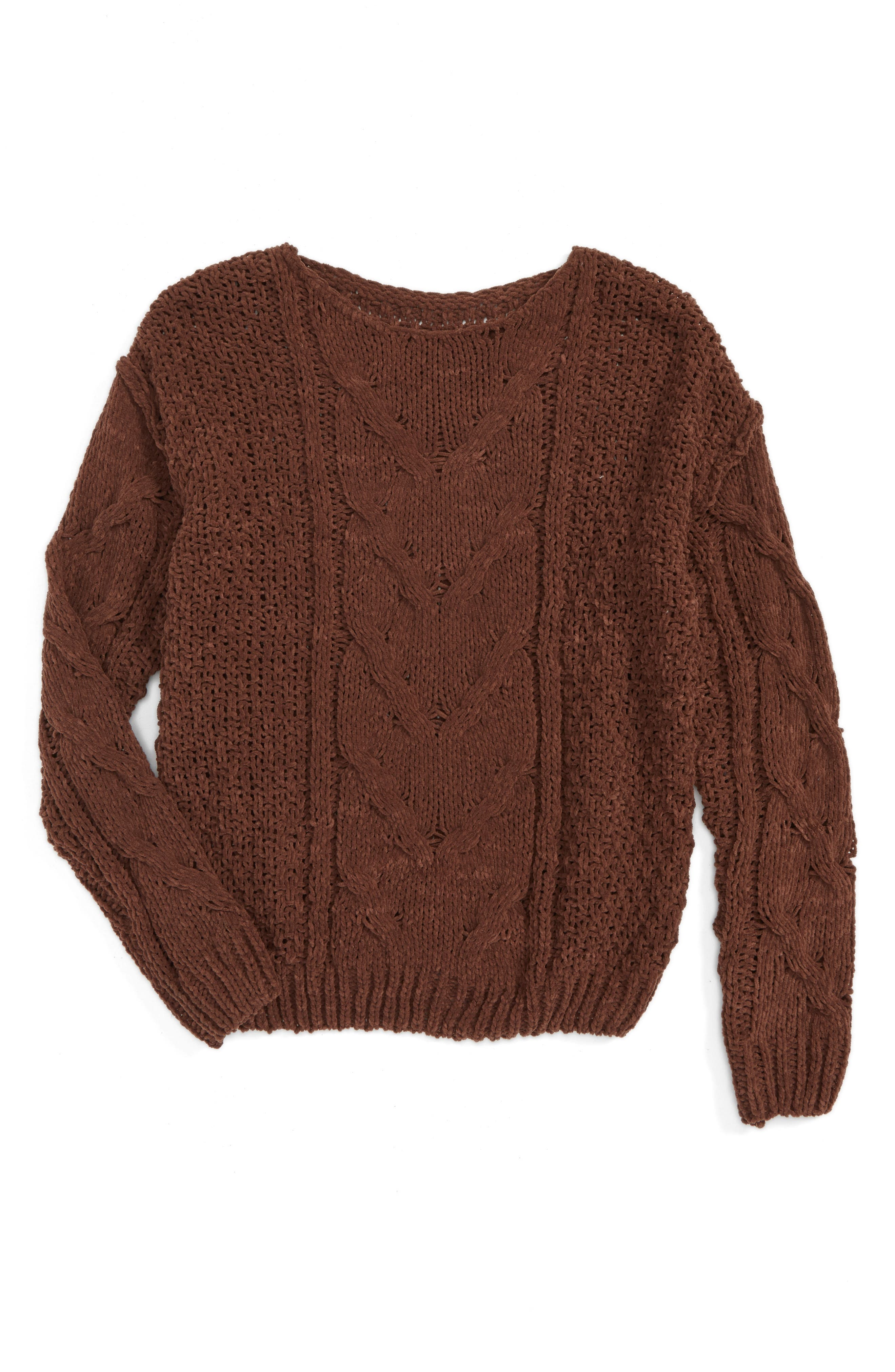 Woven Heart Cable Knit Sweater (Big Girls)