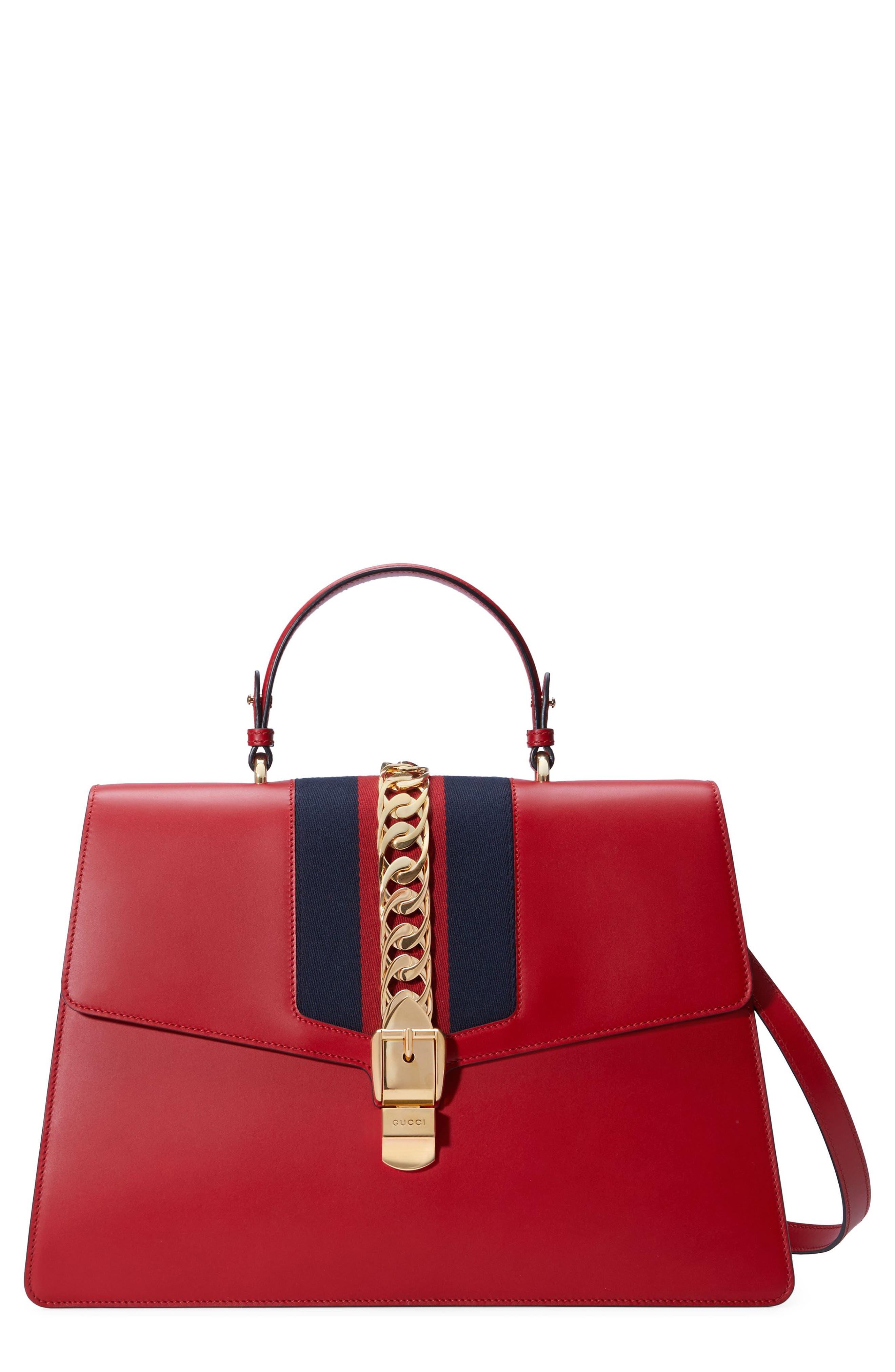 GUCCI Maxi Sylvie Top Handle Leather Shoulder Bag