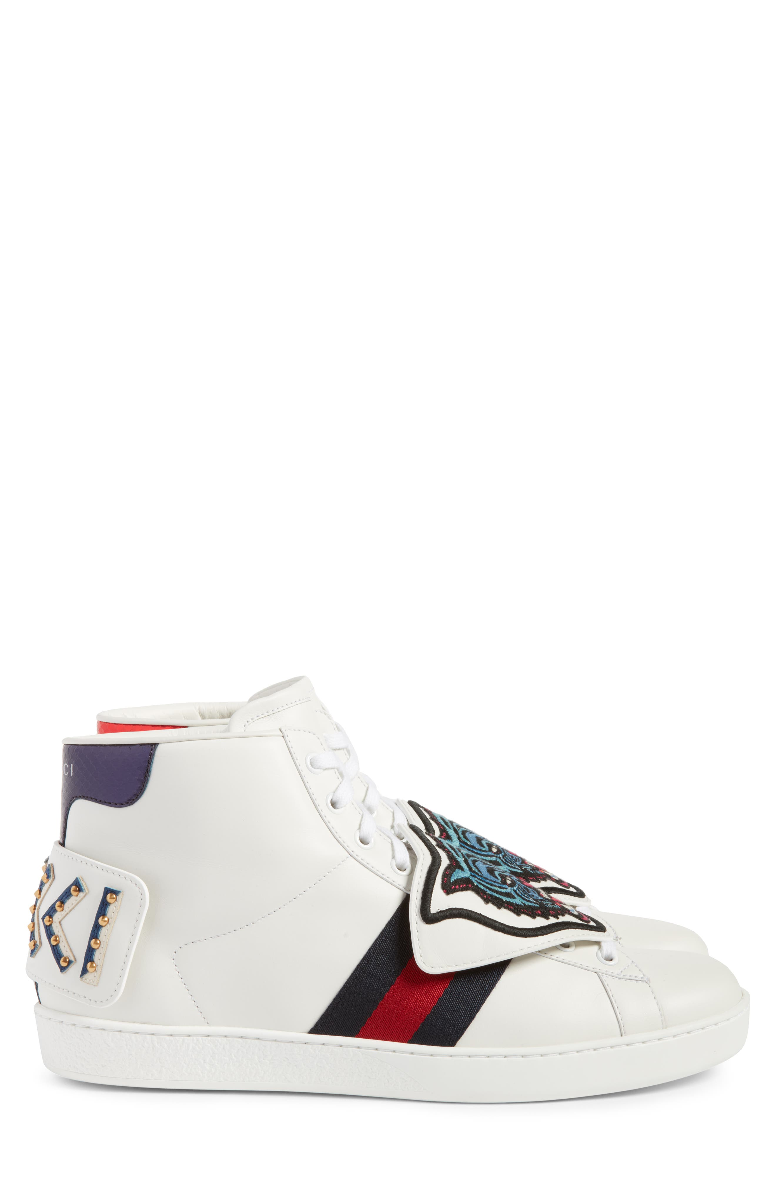 New Ace Jaguar Embroidered Patch High Top Sneaker,                             Alternate thumbnail 3, color,                             Bianco