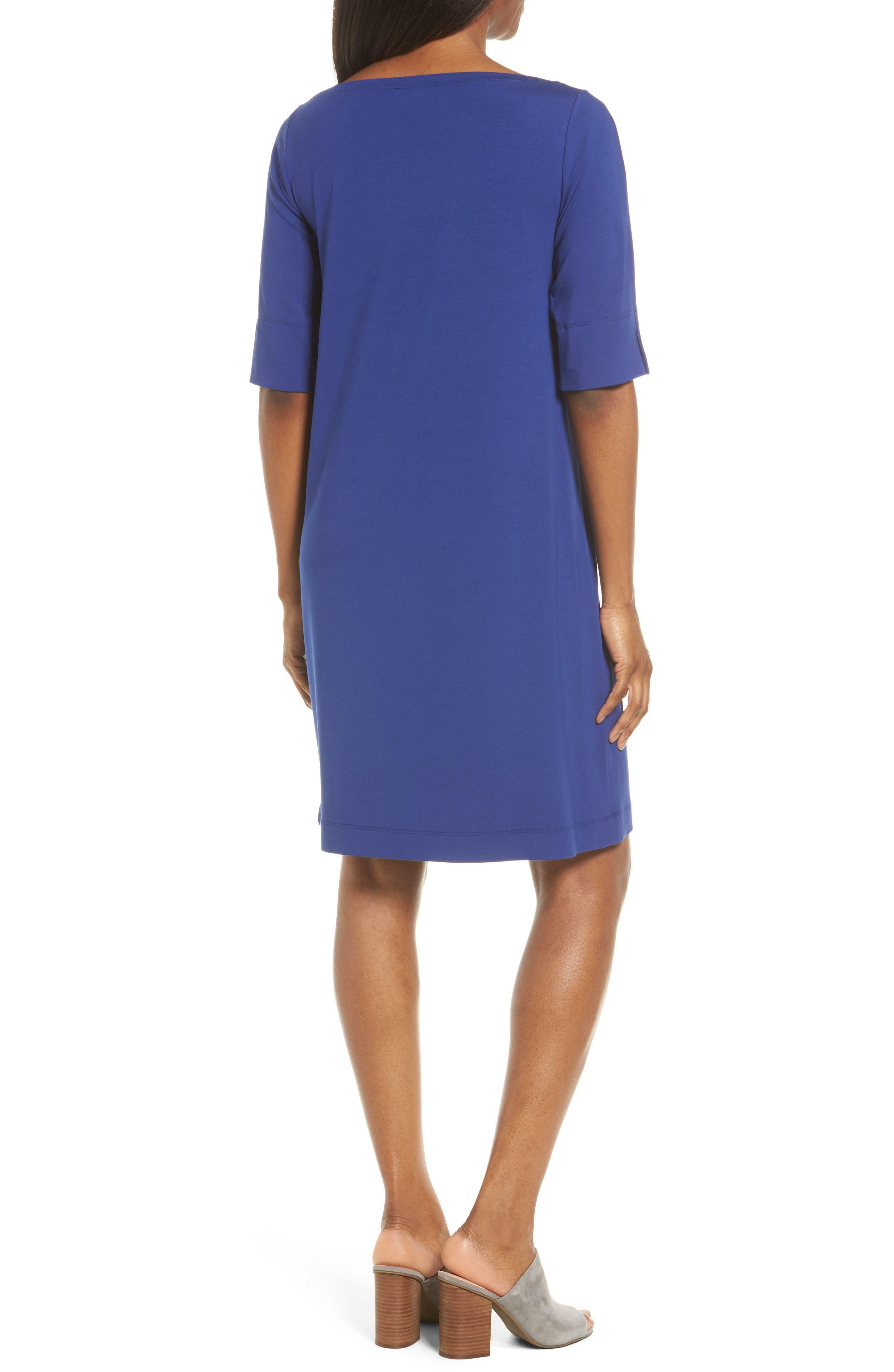 Jersey Shift Dress,                             Alternate thumbnail 3, color,                             Persian Blue
