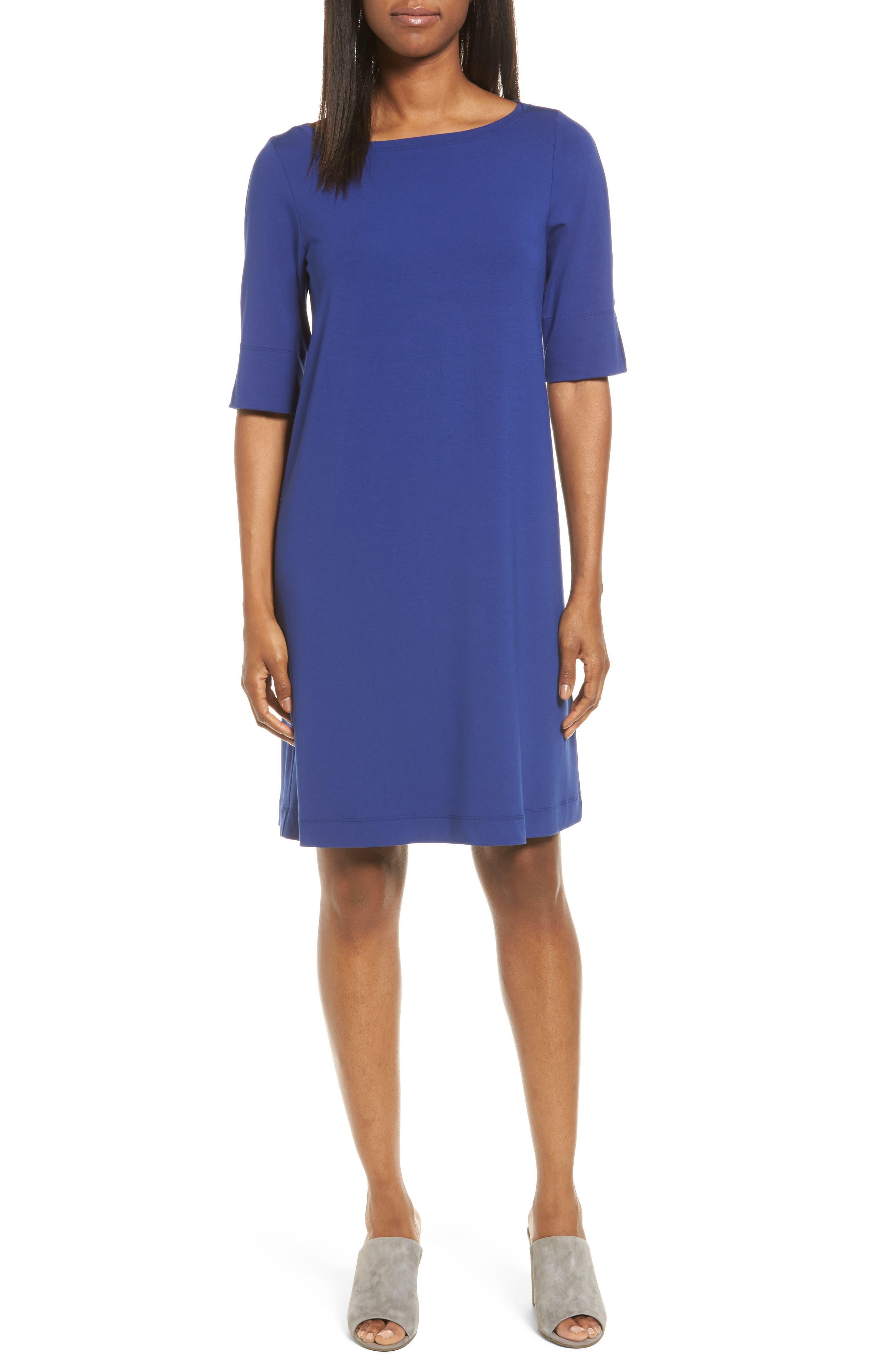 Jersey Shift Dress,                         Main,                         color, Persian Blue