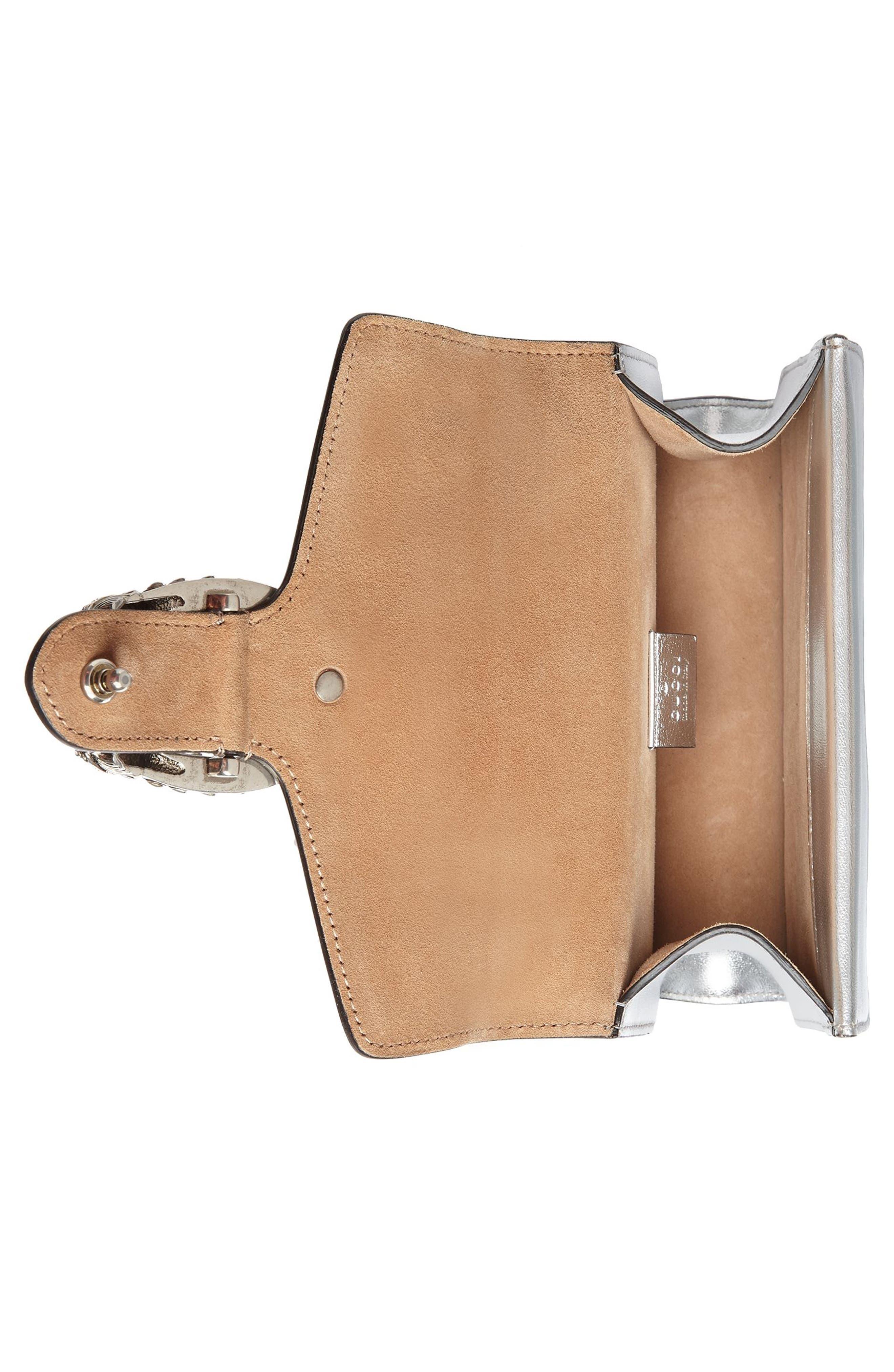 Mini Dionysus Metallic Leather Shoulder Bag,                             Alternate thumbnail 3, color,                             Argento/Blk Diamond