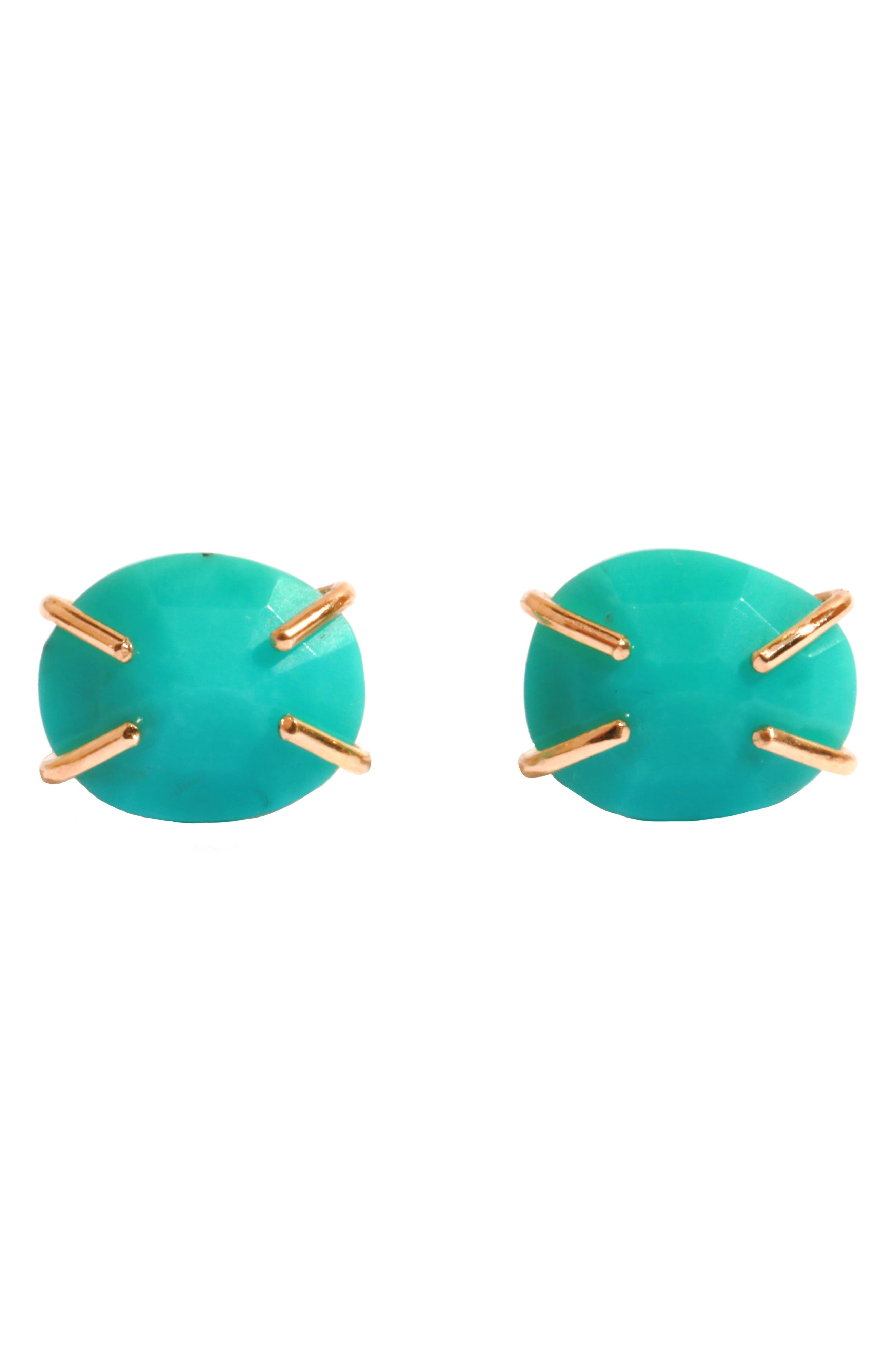 Turquoise Prong Stud Earrings,                         Main,                         color, Yellow Gold