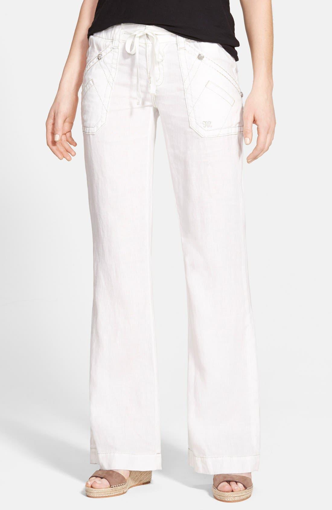 Main Image - Miss Me Metallic Stitch Wide Leg Linen Pants