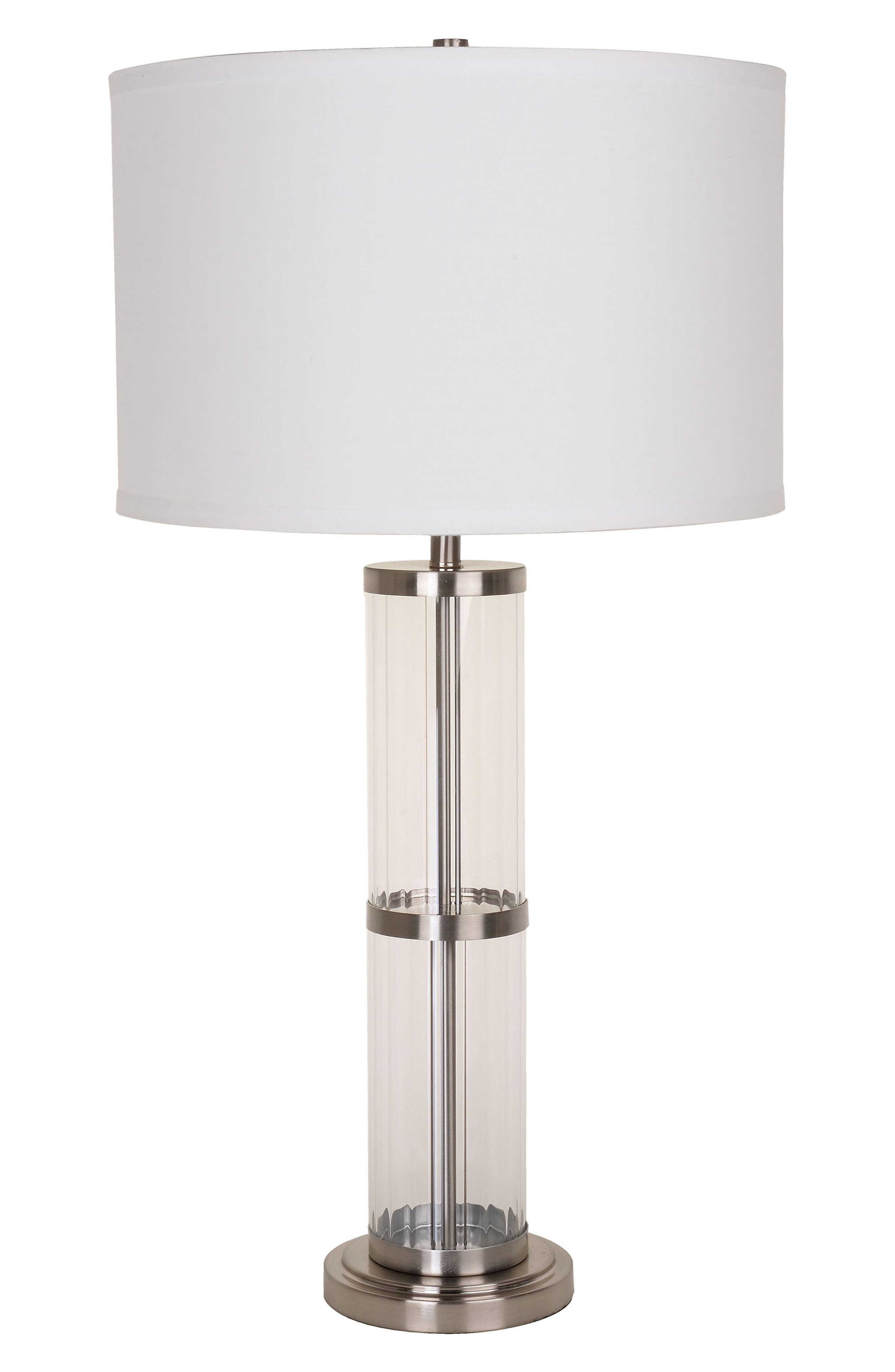 JAlexander Ribbed Glass Table Lamp,                             Main thumbnail 1, color,                             Metallic Silver