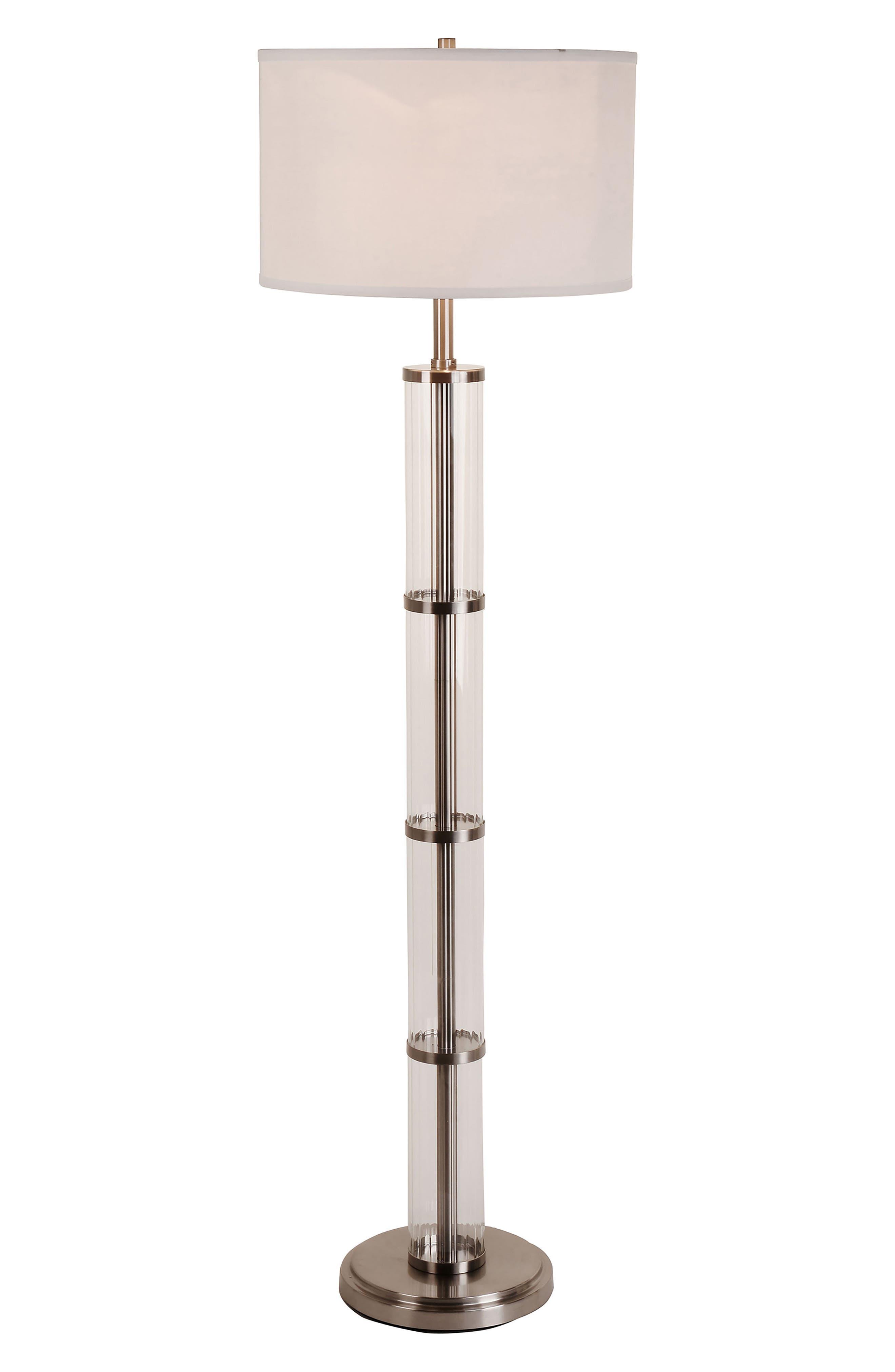 JAlexander Ribbed Glass Floor Lamp,                             Main thumbnail 1, color,                             Metallic Silver