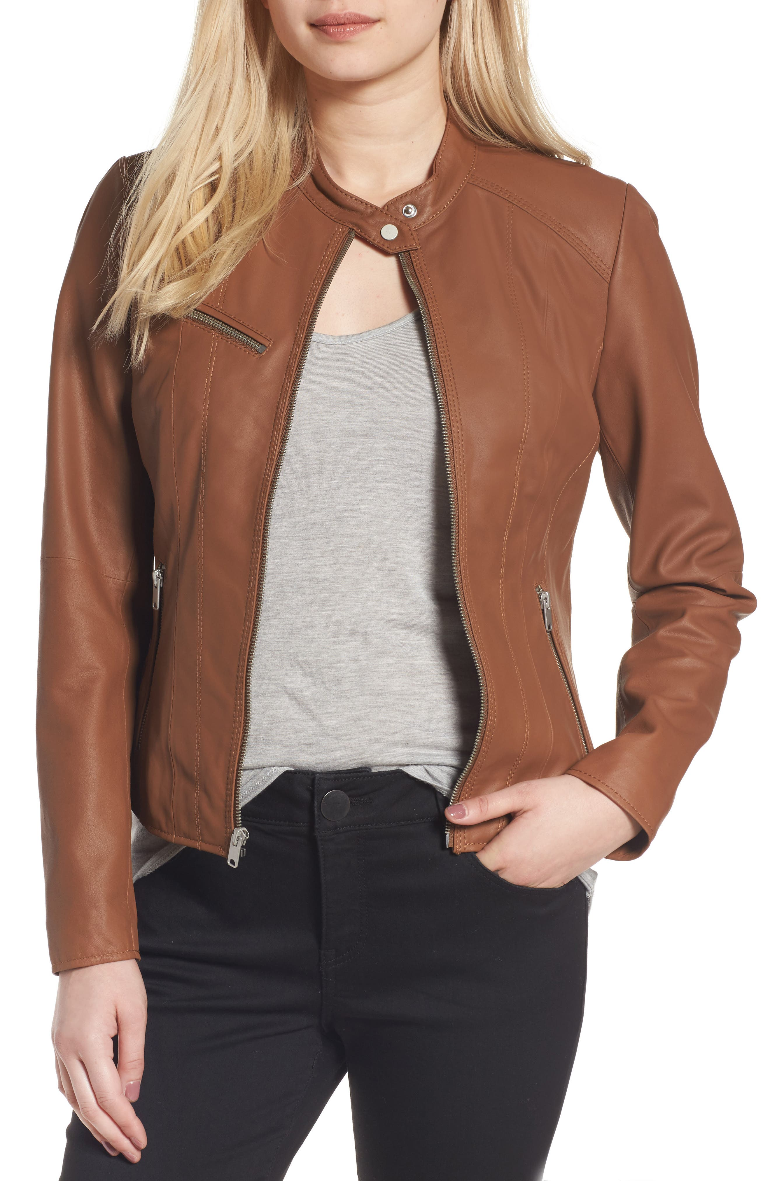 Andrew Marc Felicity Leather Moto Jacket,                         Main,                         color, Whiskey