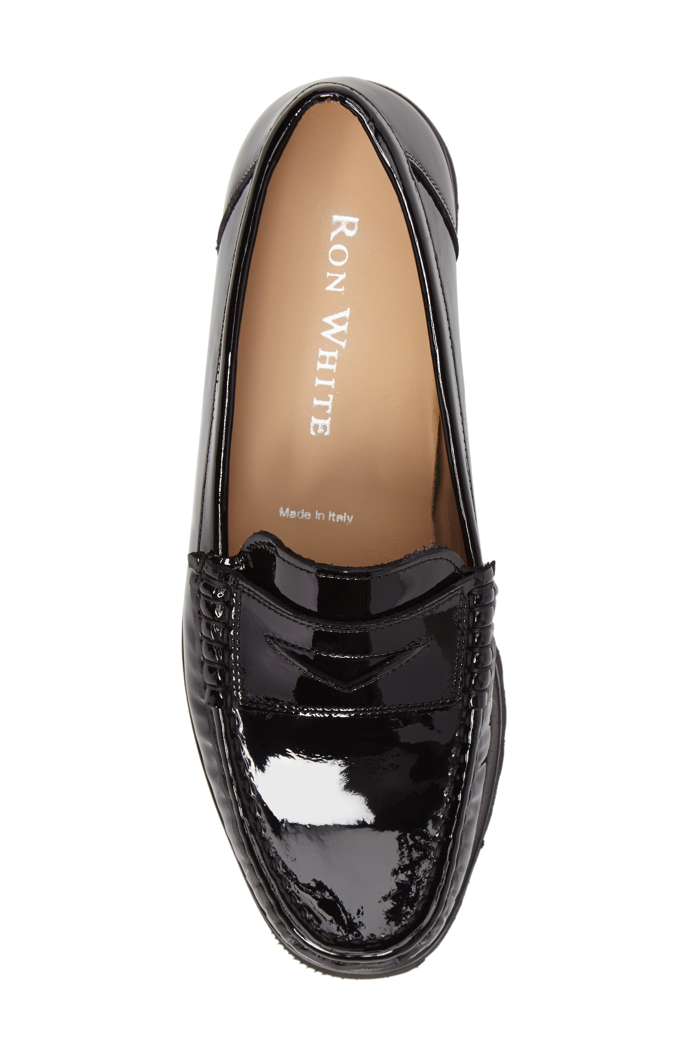 Rita Platform Penny Loafer,                             Alternate thumbnail 5, color,                             Onyx Patent