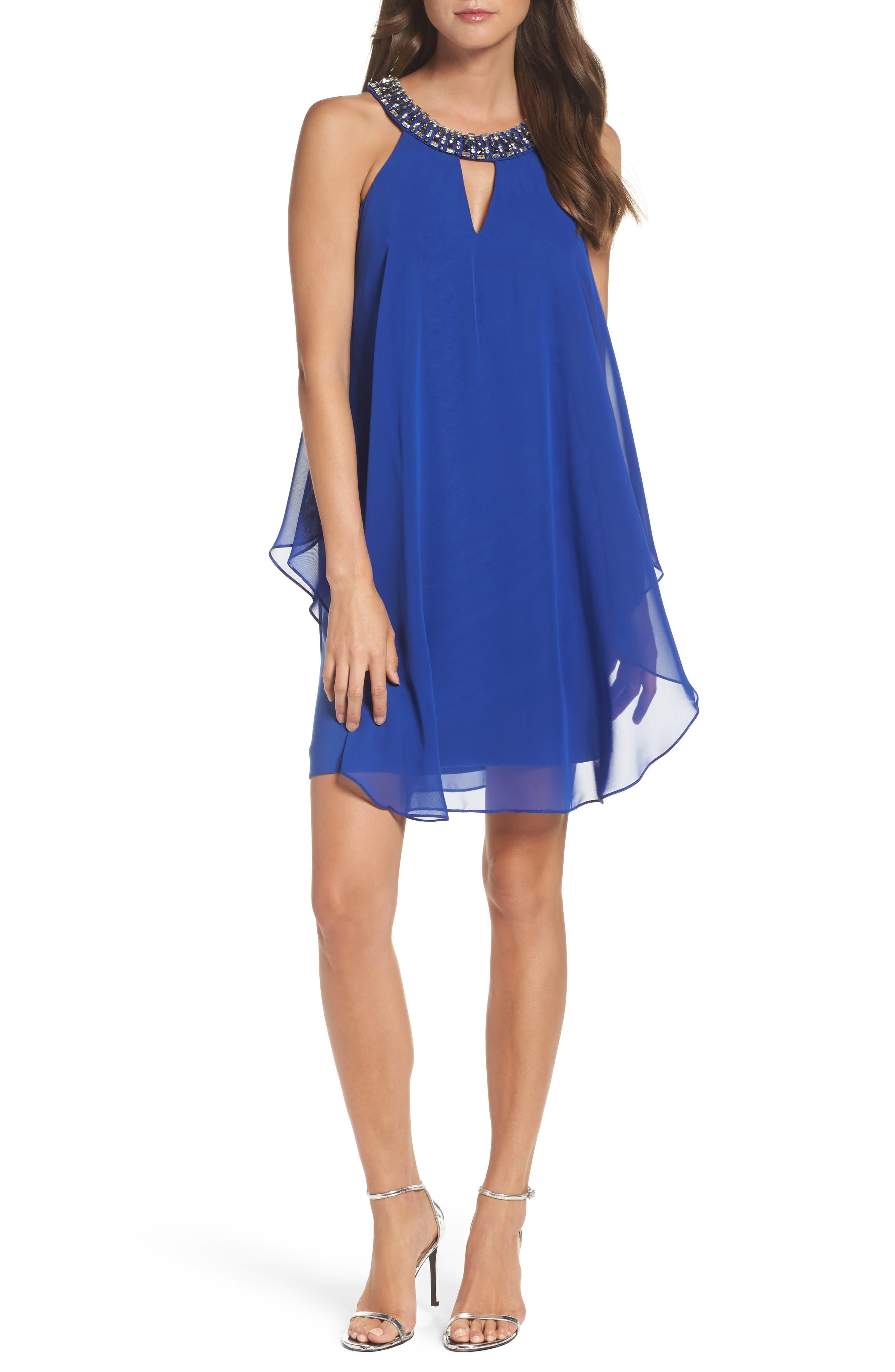 Embellished Trapeze Dress,                         Main,                         color, Cobalt