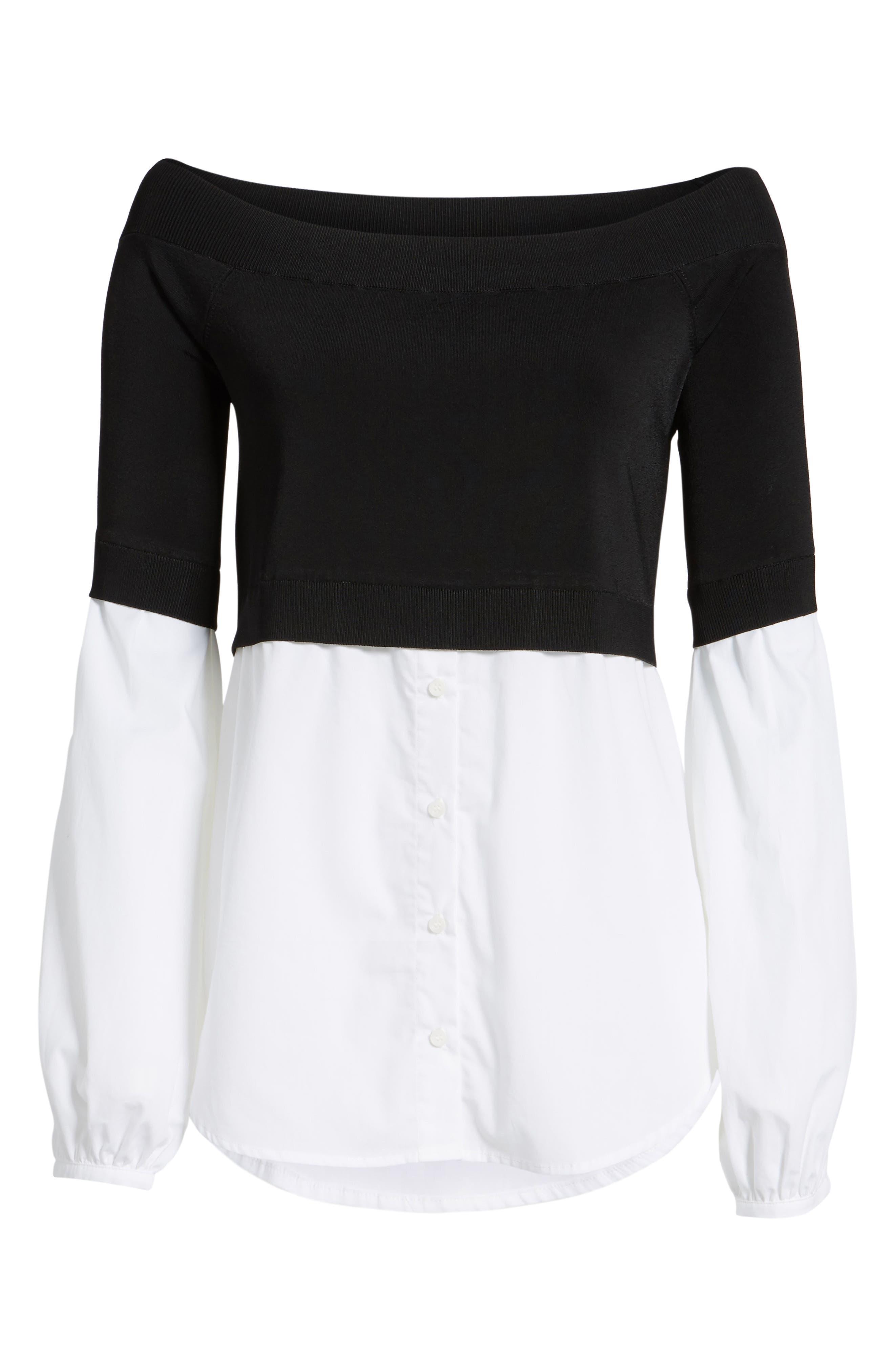 Alternate Image 7  - Trouvé Off the Shoulder Poplin Sweater
