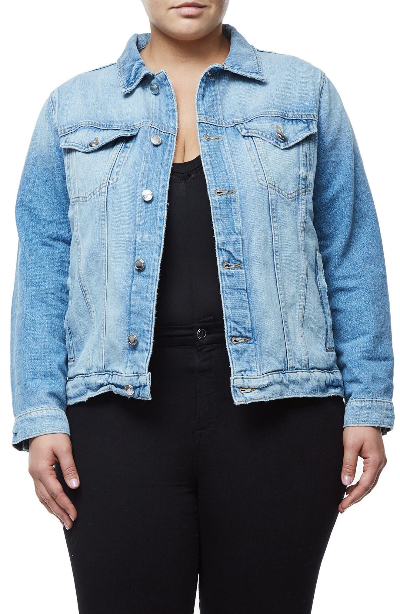 Alternate Image 2  - Good American Mesh Letter Denim Jacket (Extended Sizes)