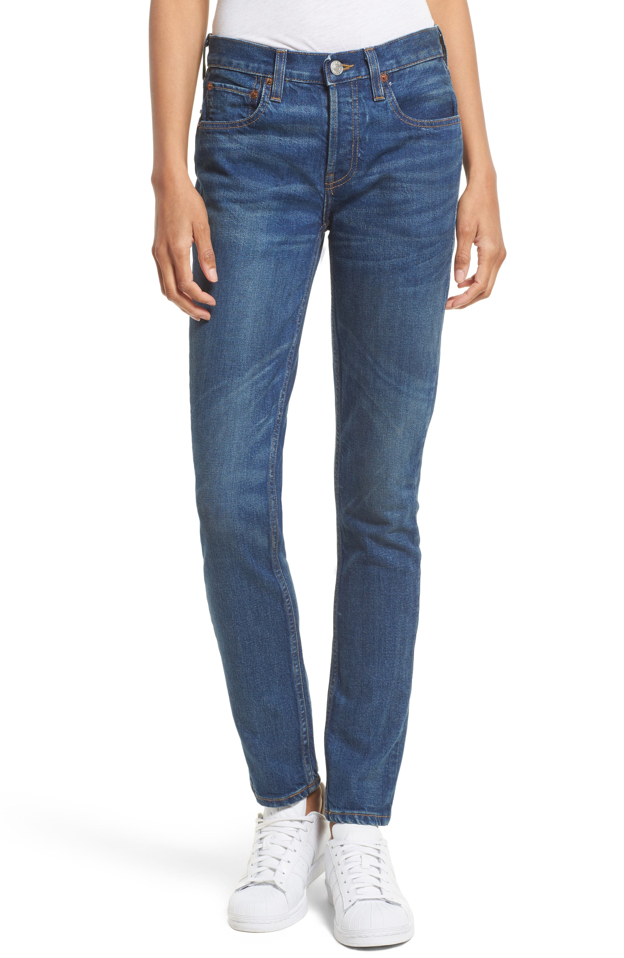 High Waist Stretch Crop Jeans,                         Main,                         color, Med Vain