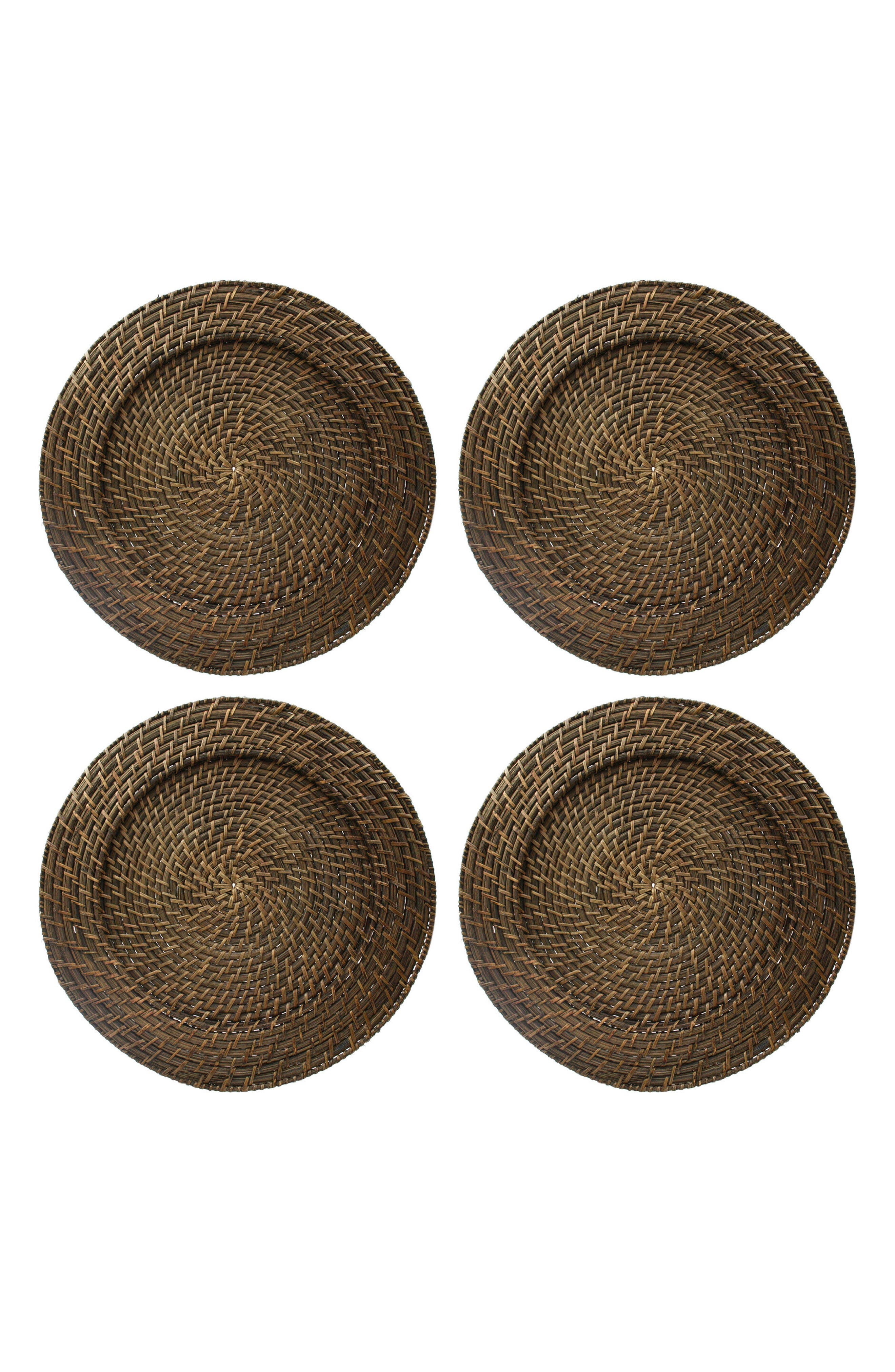 Set of 4 Rattan Charger Plates,                         Main,                         color, Brown