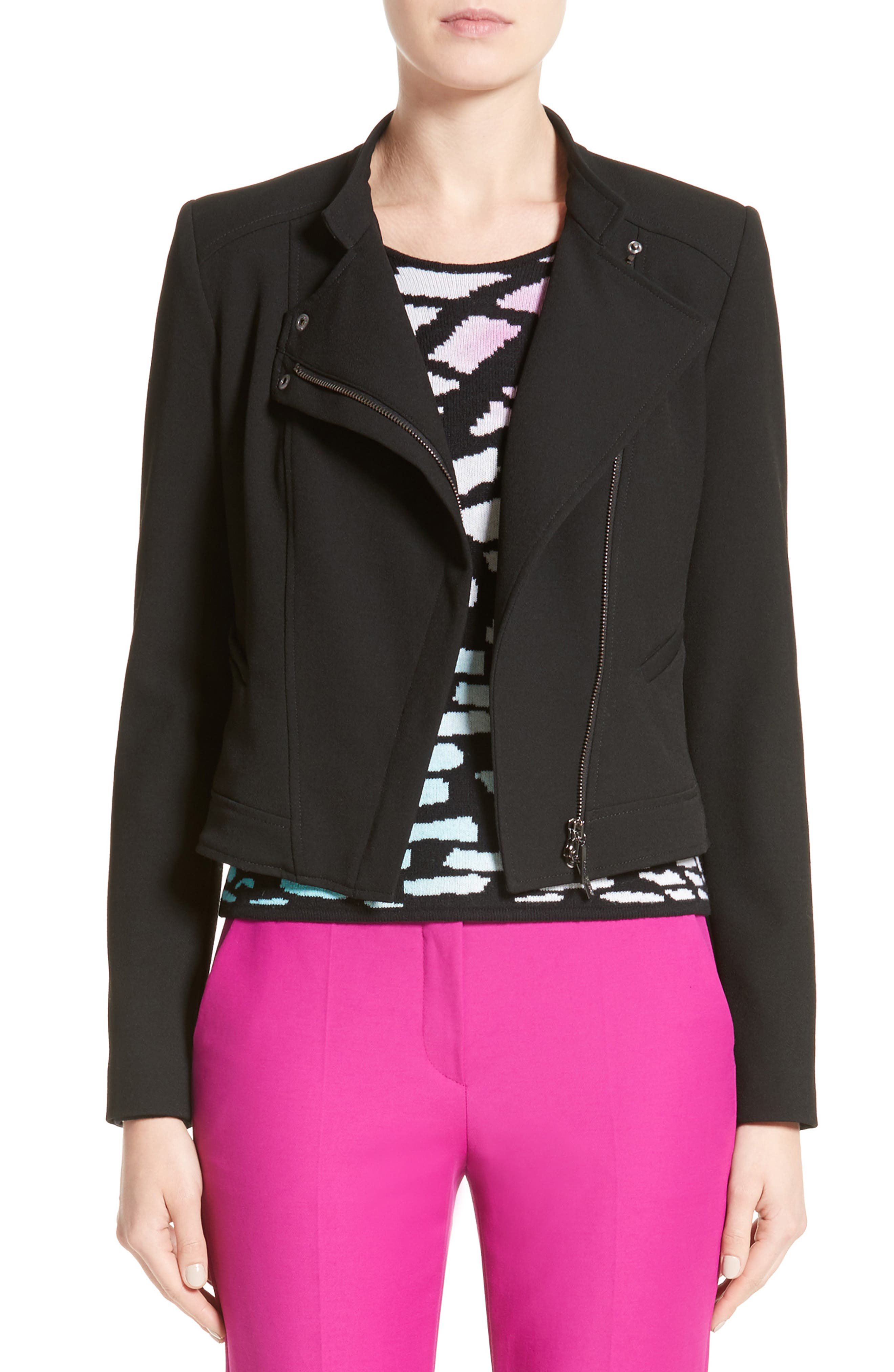 Armani Jeans Crepe Moto Jacket,                             Main thumbnail 1, color,                             Black