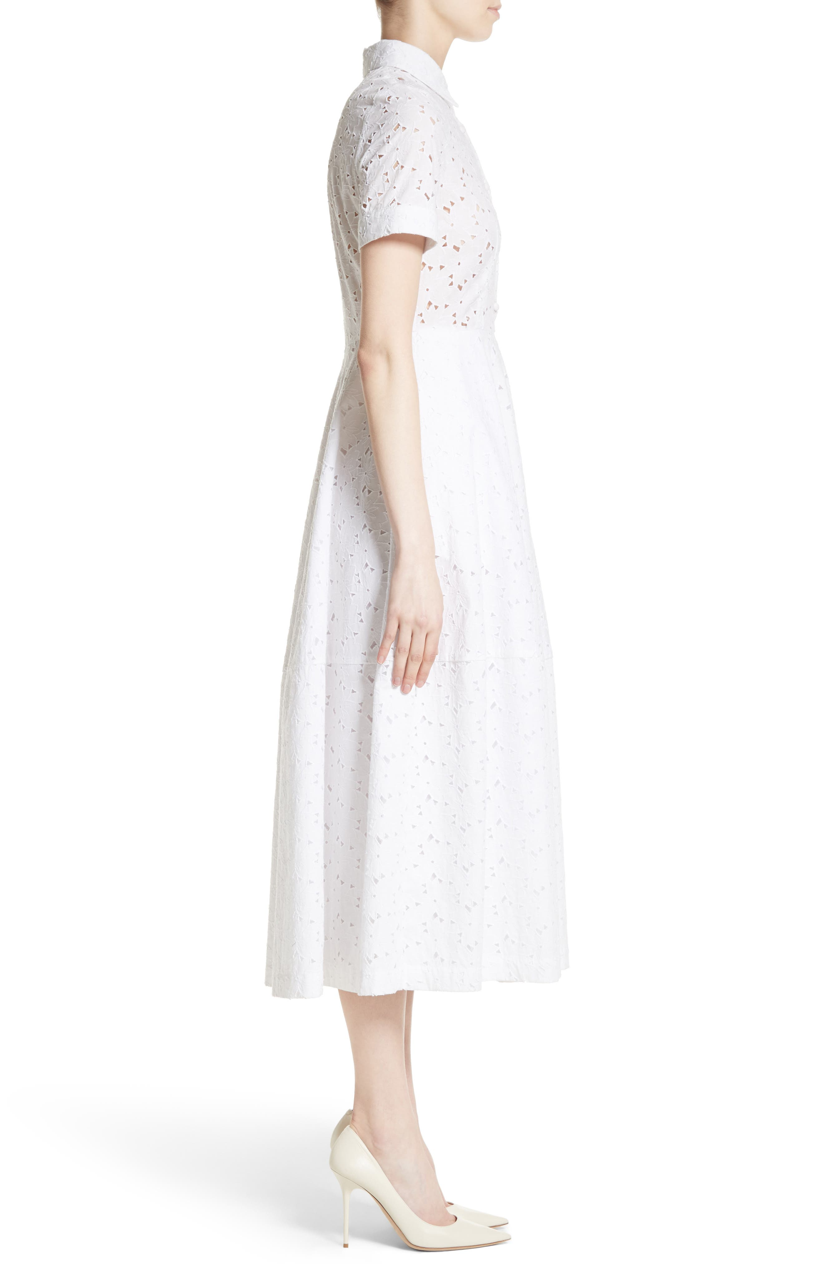 Cotton Broderie Anglaise Shirtdress,                             Alternate thumbnail 5, color,                             White